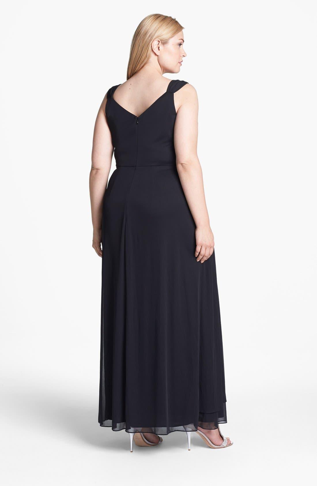 Alternate Image 2  - Alex Evenings Embellished Pleat Front Faux Wrap Gown (Plus Size)