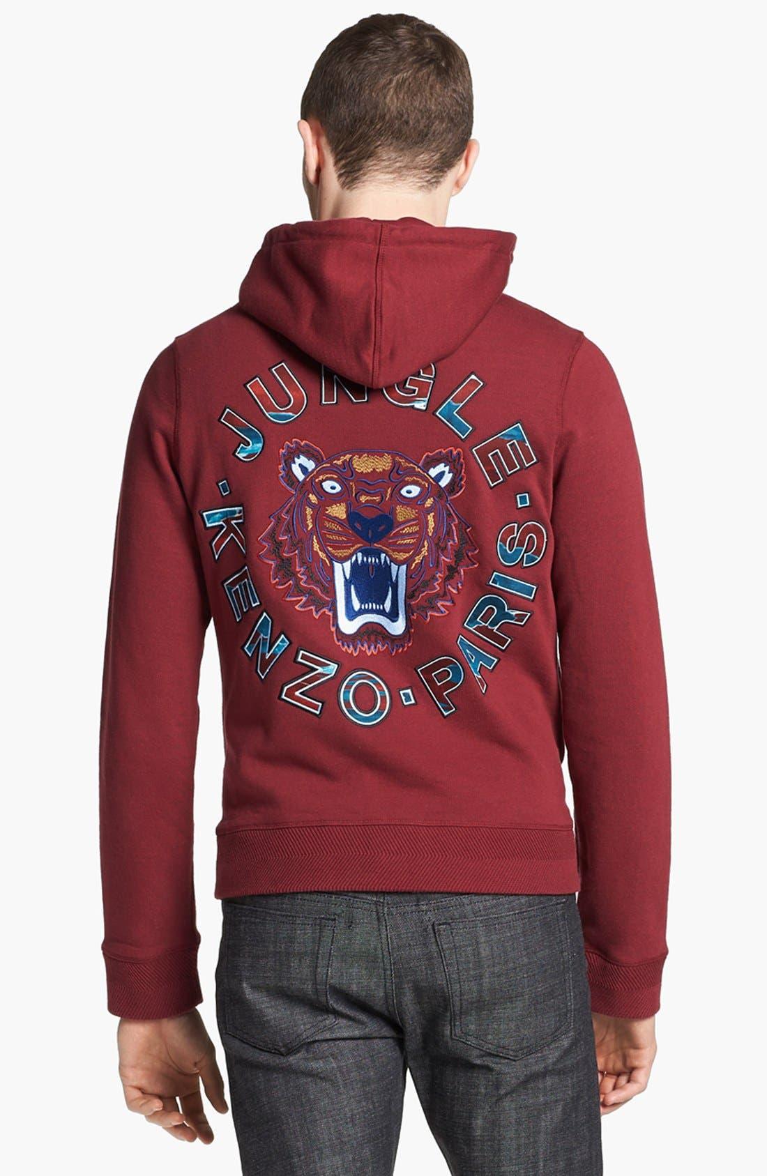 Alternate Image 2  - KENZO Embroidered Tiger Logo Zip Hoodie