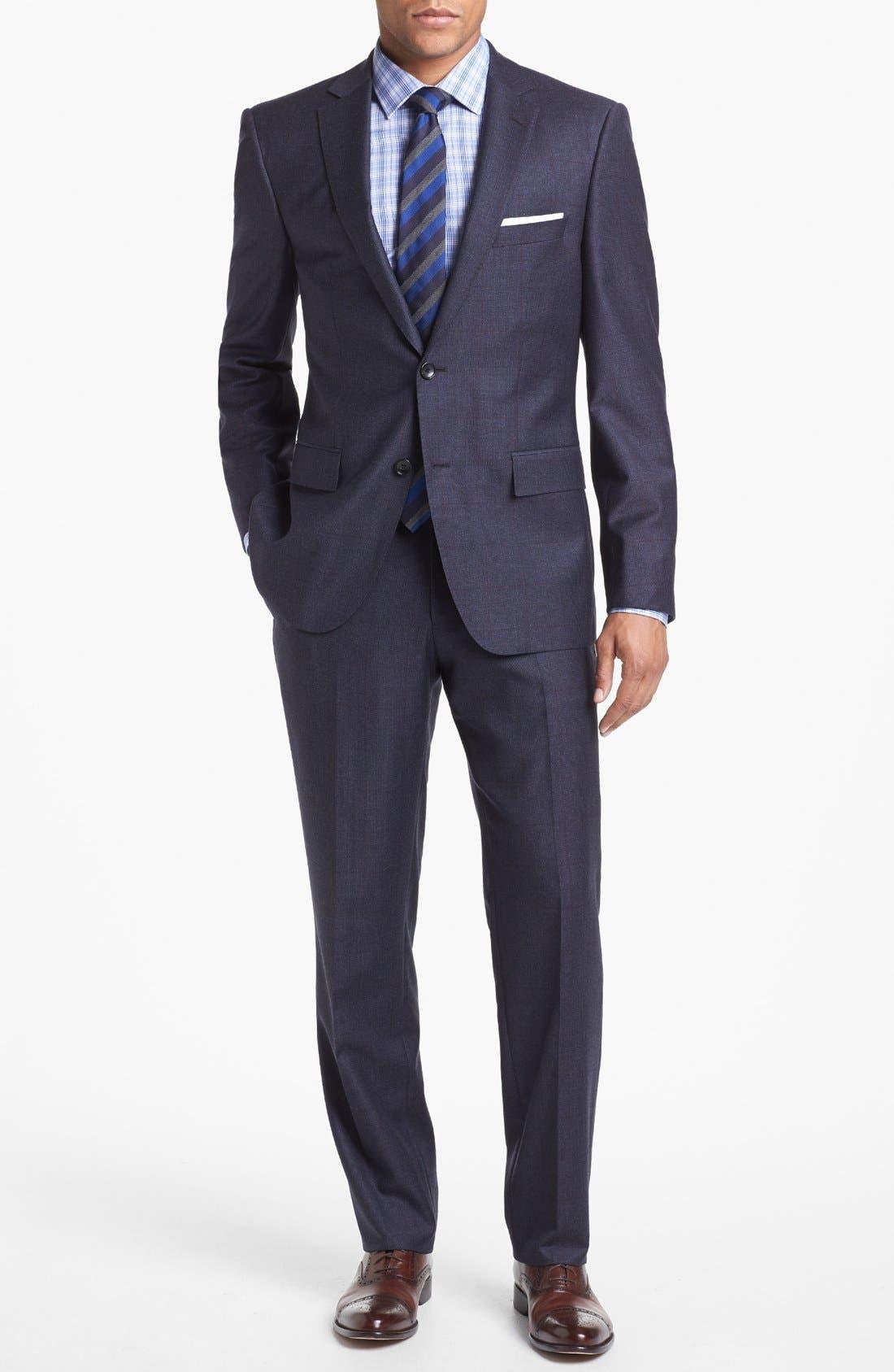 Alternate Image 1 Selected - BOSS HUGO BOSS 'Howard/Court' Trim Fit Plaid Suit