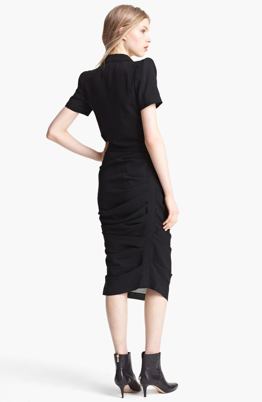 Alternate Image 2  - Band of Outsiders Short Sleeve Ruched Wool Dress