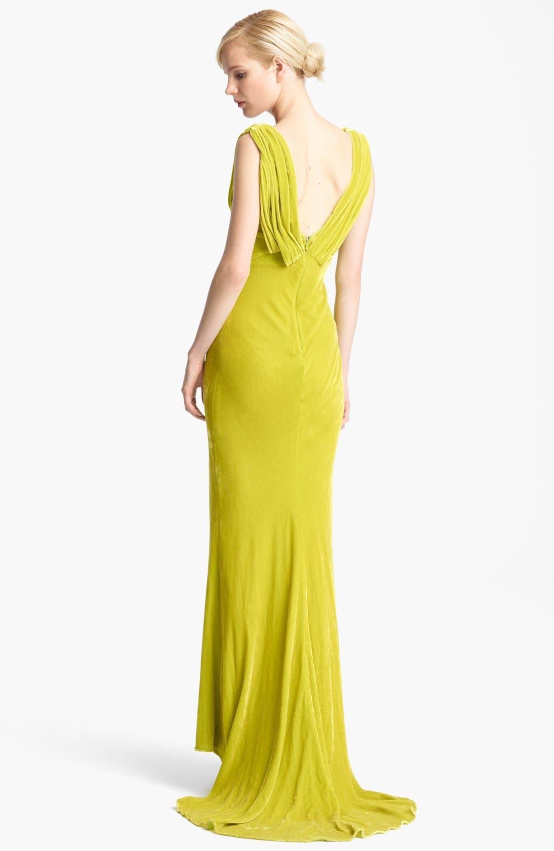 Alternate Image 2  - Oscar de la Renta Draped Velvet Gown