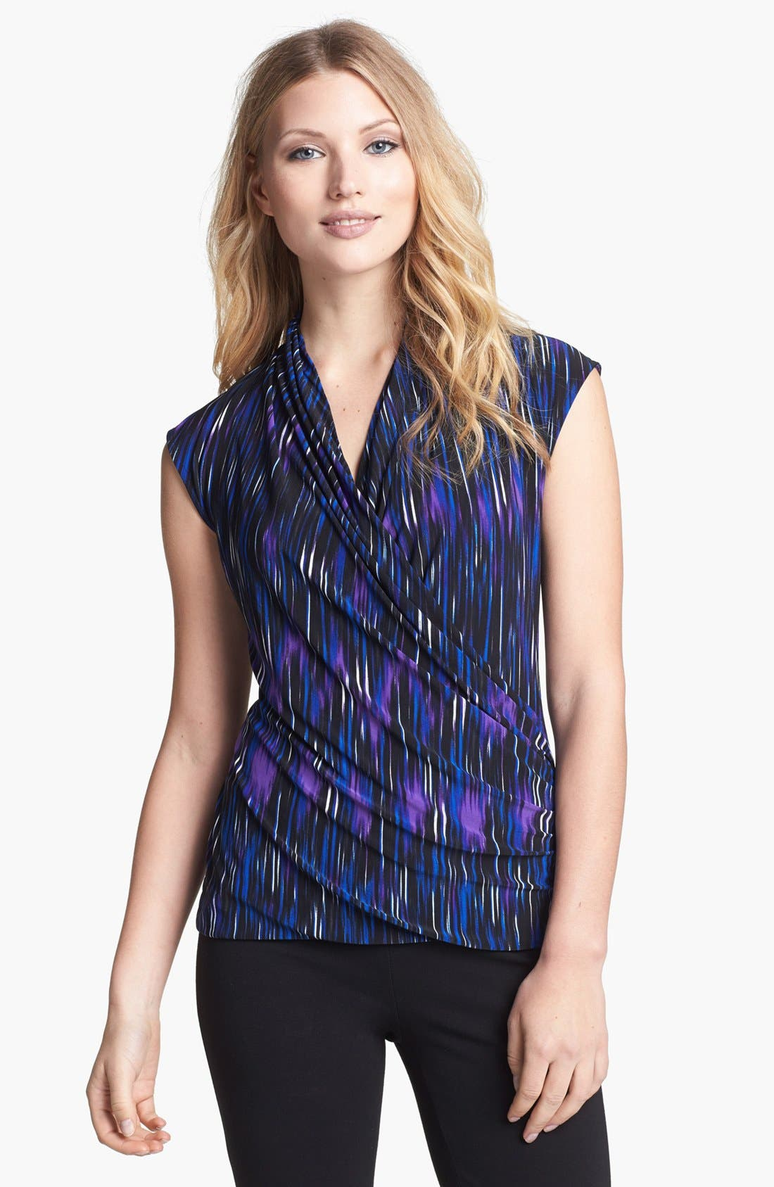 Alternate Image 1 Selected - Chaus Faux Wrap Print Top