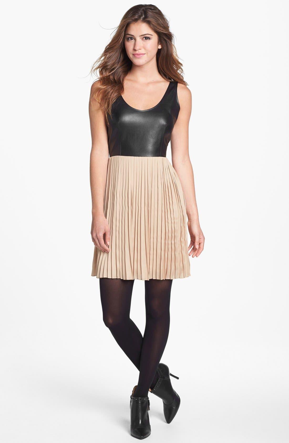 Alternate Image 2  - BB Dakota Faux Leather Bodice & Pleated Skirt Dress (Online Only)