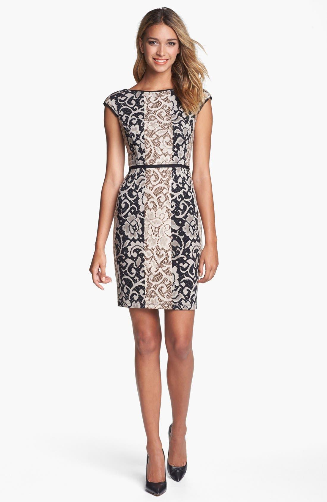 Alternate Image 1 Selected - Maggy London Mixed Print Ponte Knit Sheath Dress