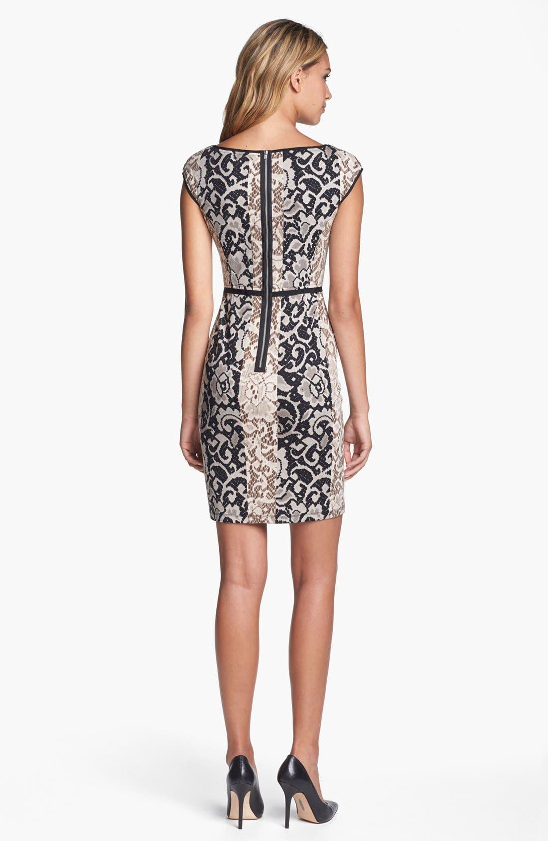 Alternate Image 2  - Maggy London Mixed Print Ponte Knit Sheath Dress