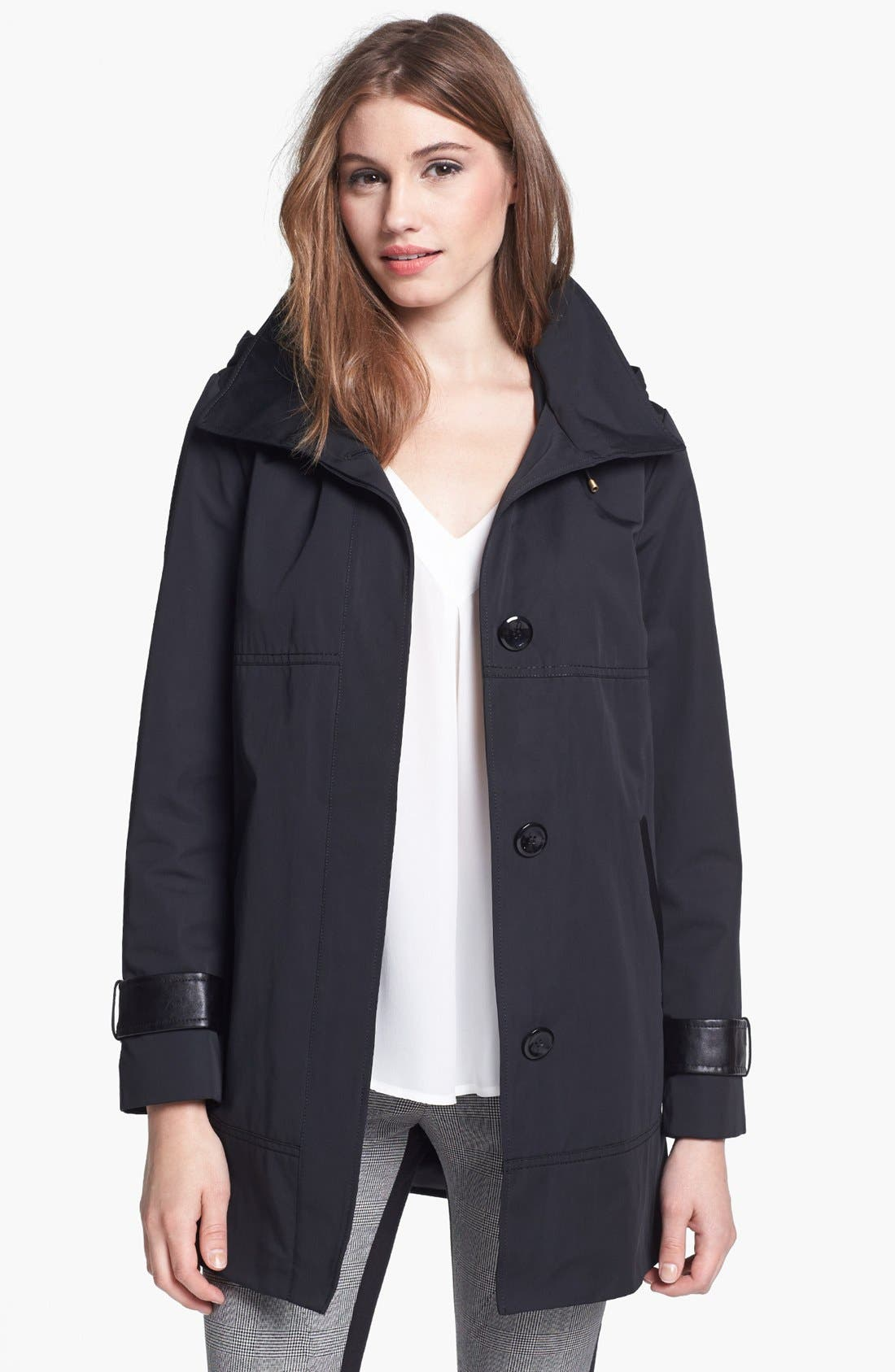 Main Image - Ellen Tracy Faux Leather Trim Raincoat (Regular & Petite)