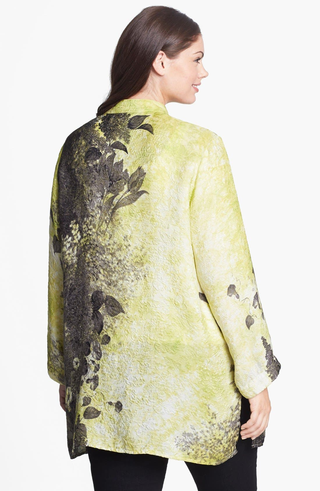 Alternate Image 2  - Citron Print Embossed Silk Tunic (Plus Size)