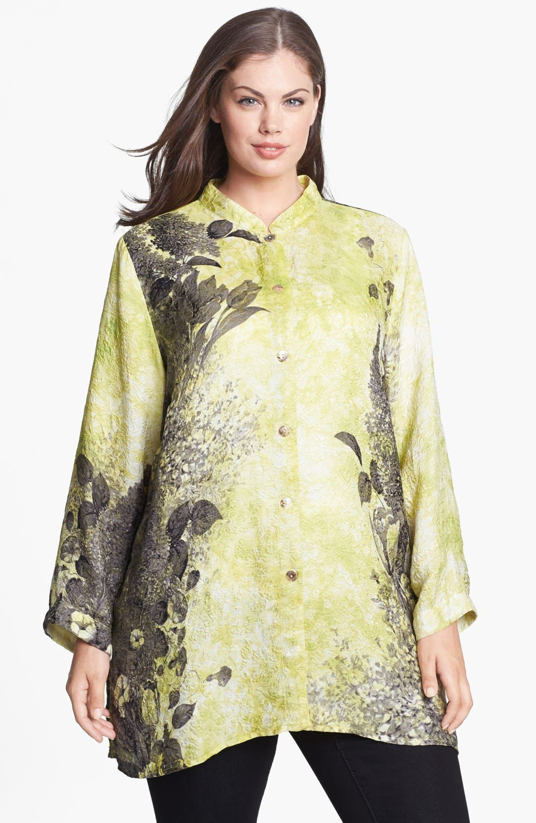 Alternate Image 1 Selected - Citron Print Embossed Silk Tunic (Plus Size)