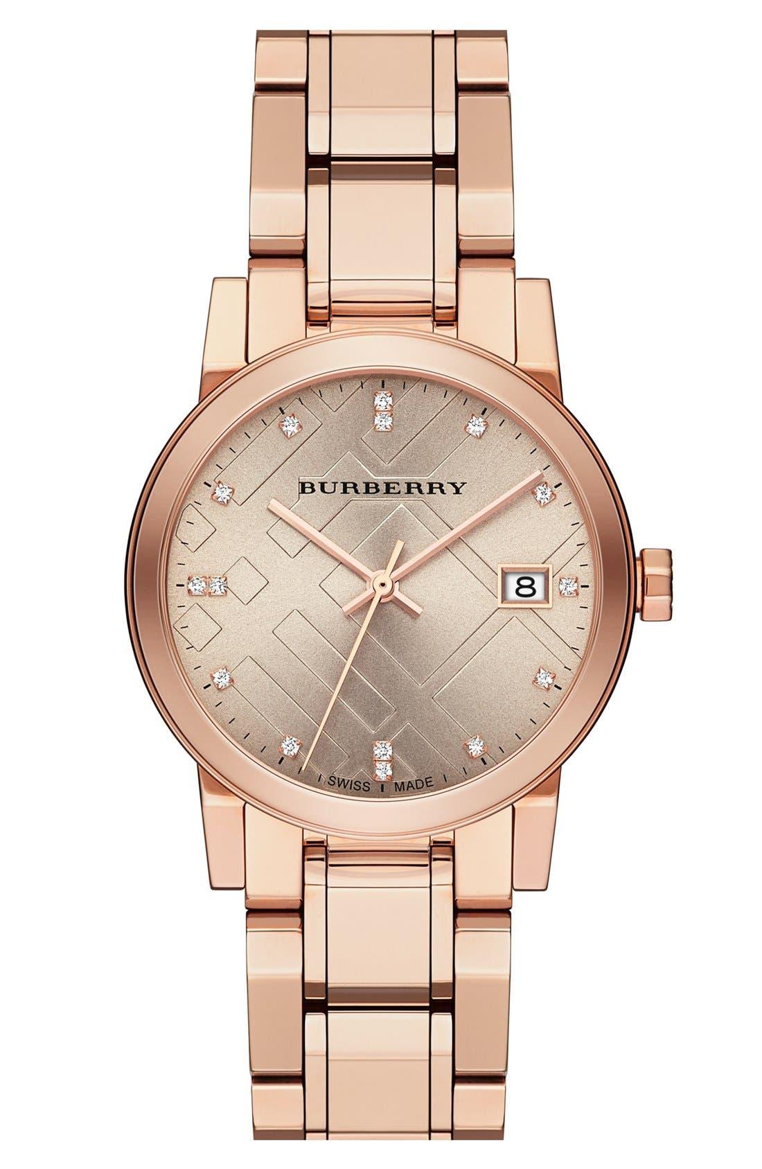 Alternate Image 1 Selected - Burberry Diamond Dial Bracelet Watch, 34mm