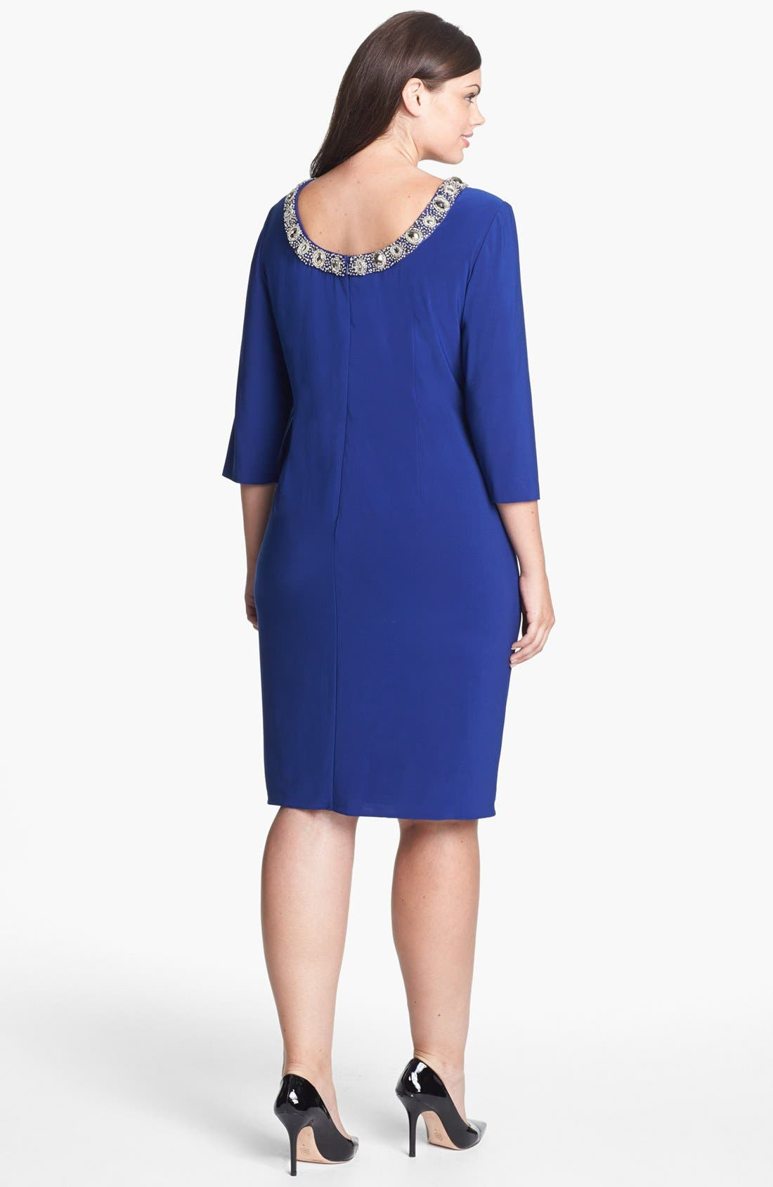 Alternate Image 2  - Alex Evenings Embellished Side Draped Jersey Dress (Plus Size)