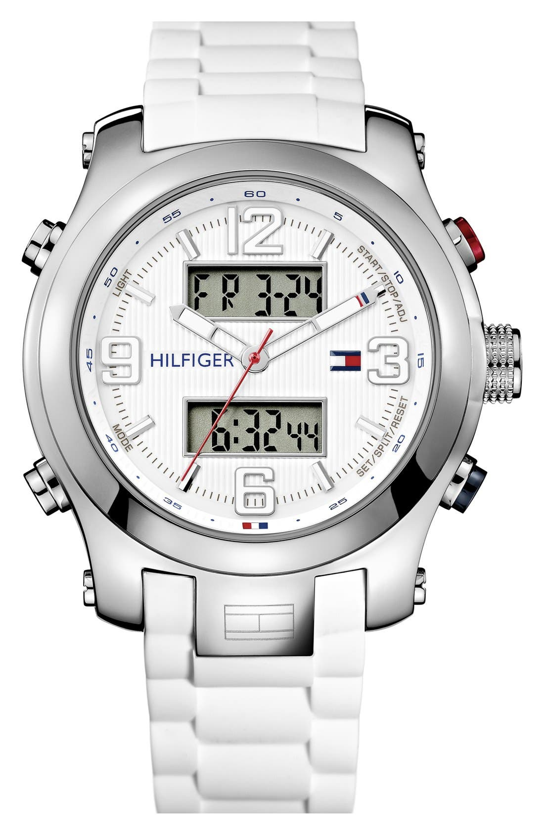 Main Image - Tommy Hilfiger Ana-Digi Silicone Strap Watch, 46mm