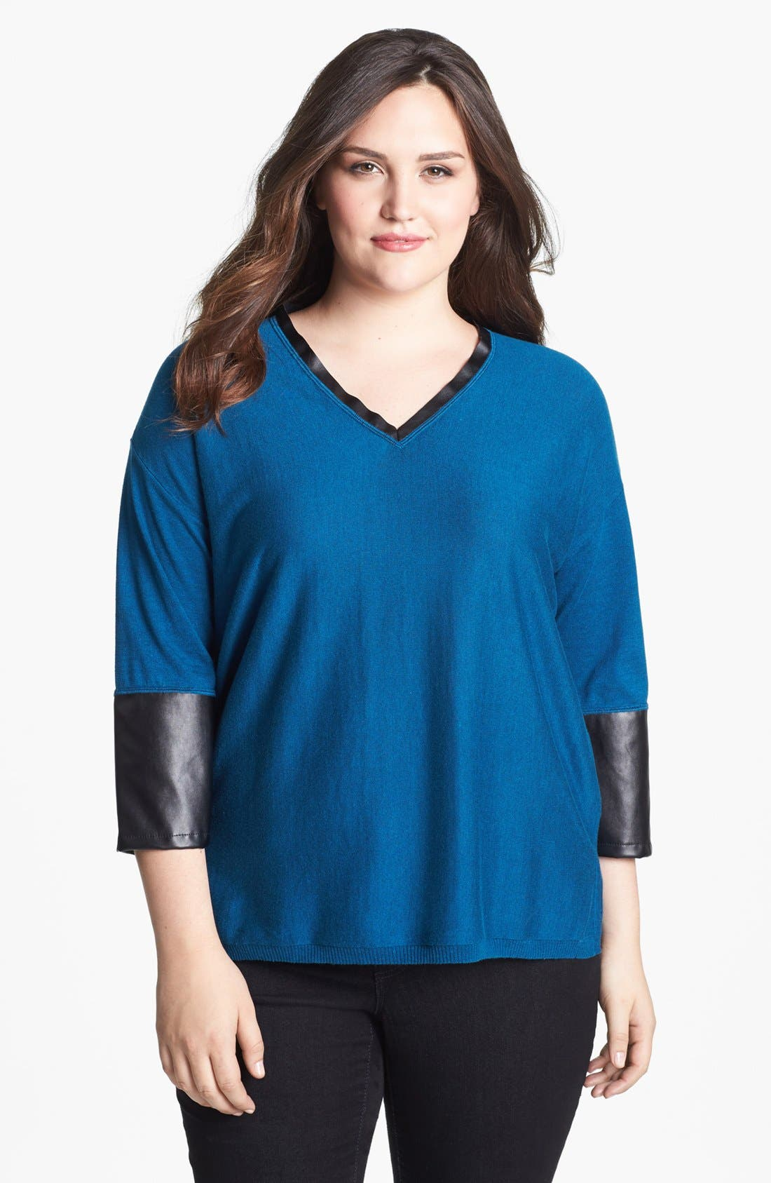 Main Image - Sejour 'Dove' Faux Leather Trim Pullover (Plus Size)