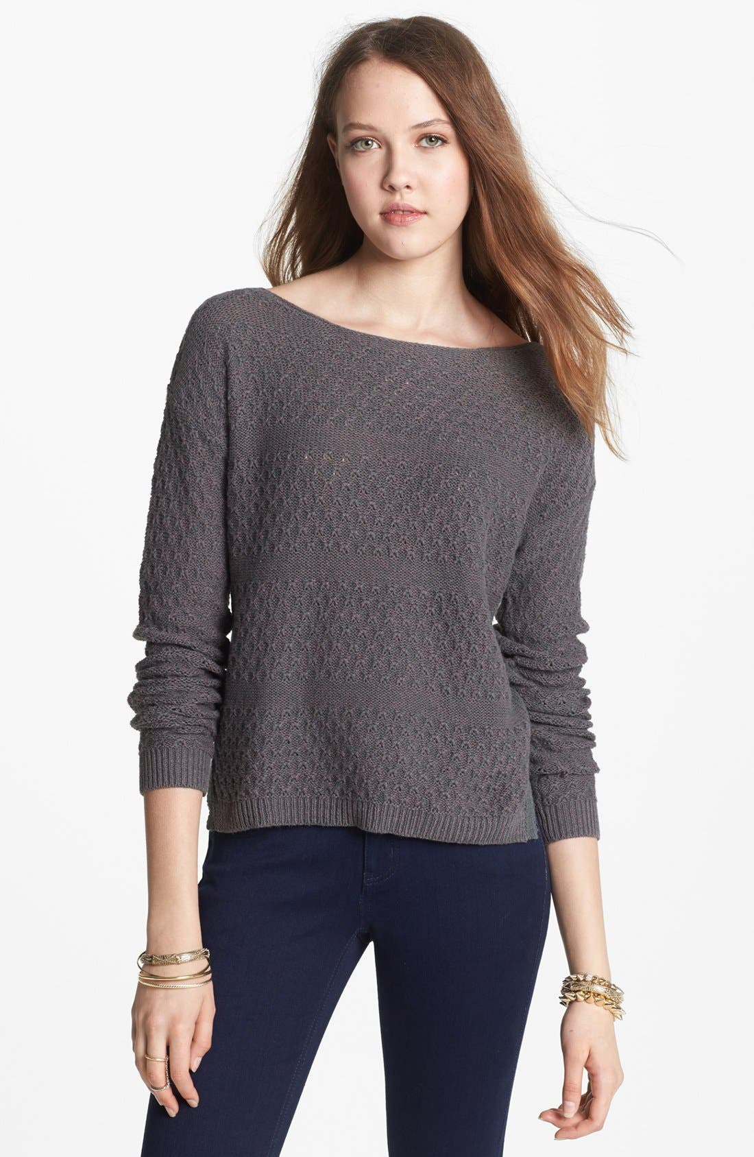 Alternate Image 1 Selected - Rubbish® Textured Boatneck Sweater (Juniors)