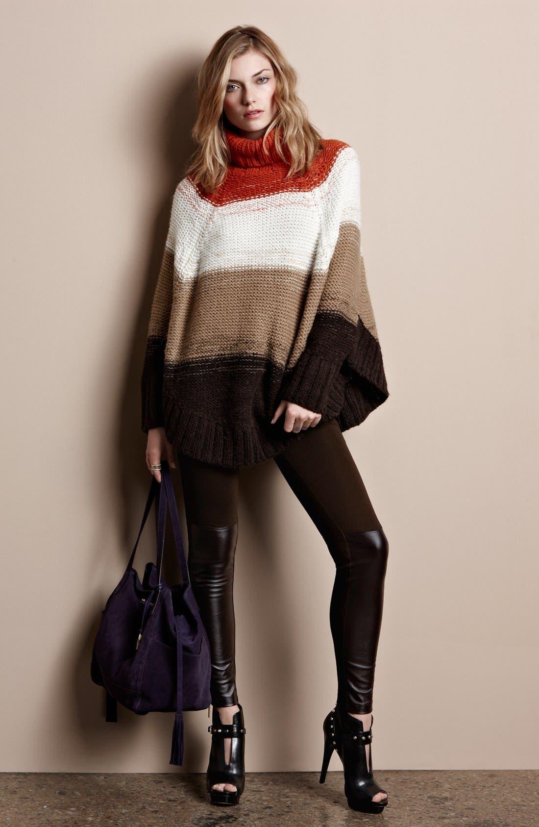Alternate Image 5  - MICHAEL Michael Kors Stripe Turtleneck Poncho Sweater