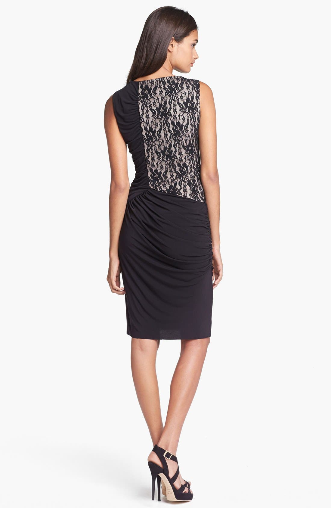 Alternate Image 2  - Maggy London Lace & Ruched Jersey Dress
