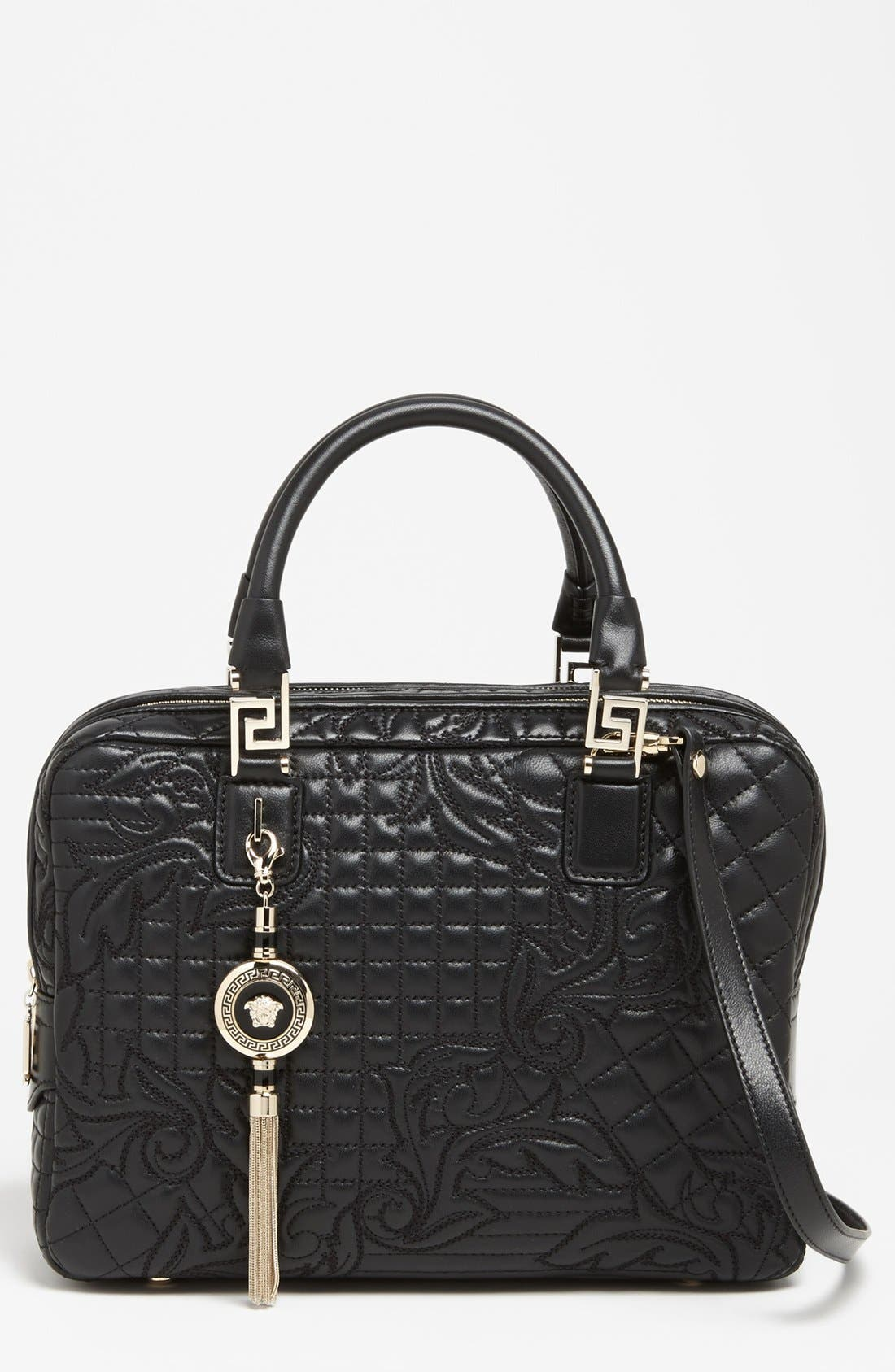 Main Image - Versace 'Linea' Embroidered Leather Satchel
