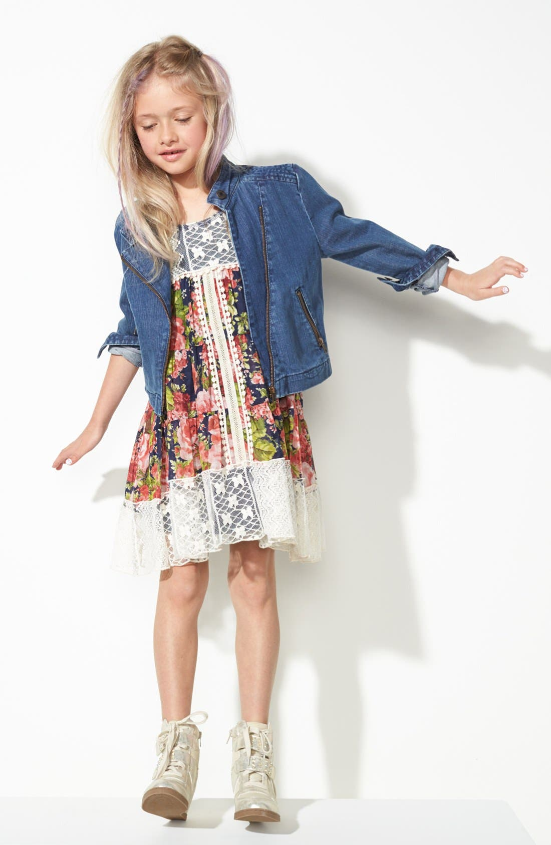 Alternate Image 2  - Truly Me Dress & Tucker + Tate Denim Jacket (Big Girls)