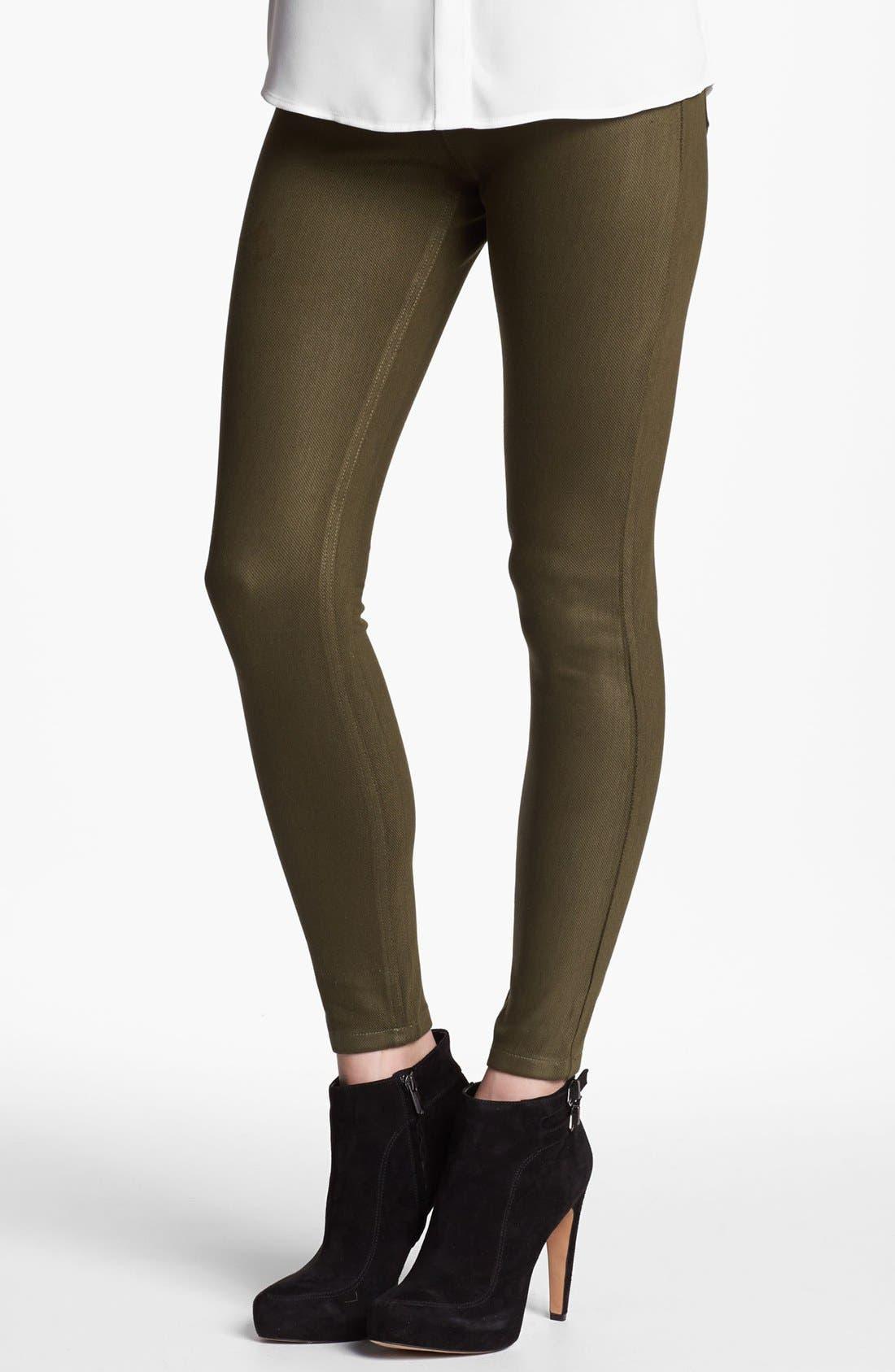 Main Image - Hue Waxed Denim Leggings (Online Only)