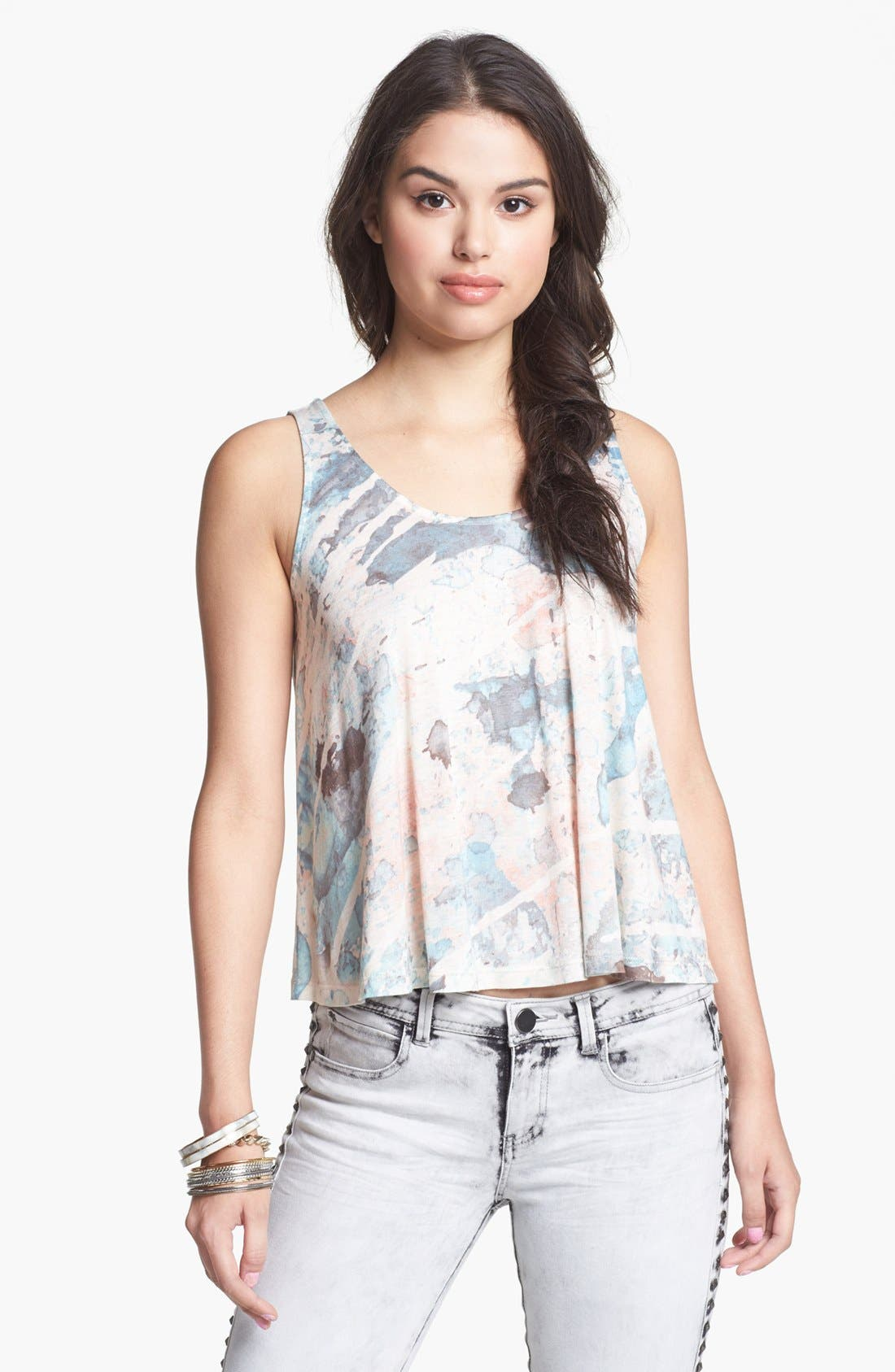 Alternate Image 1 Selected - Soprano Cross Back Print Tank (Juniors)