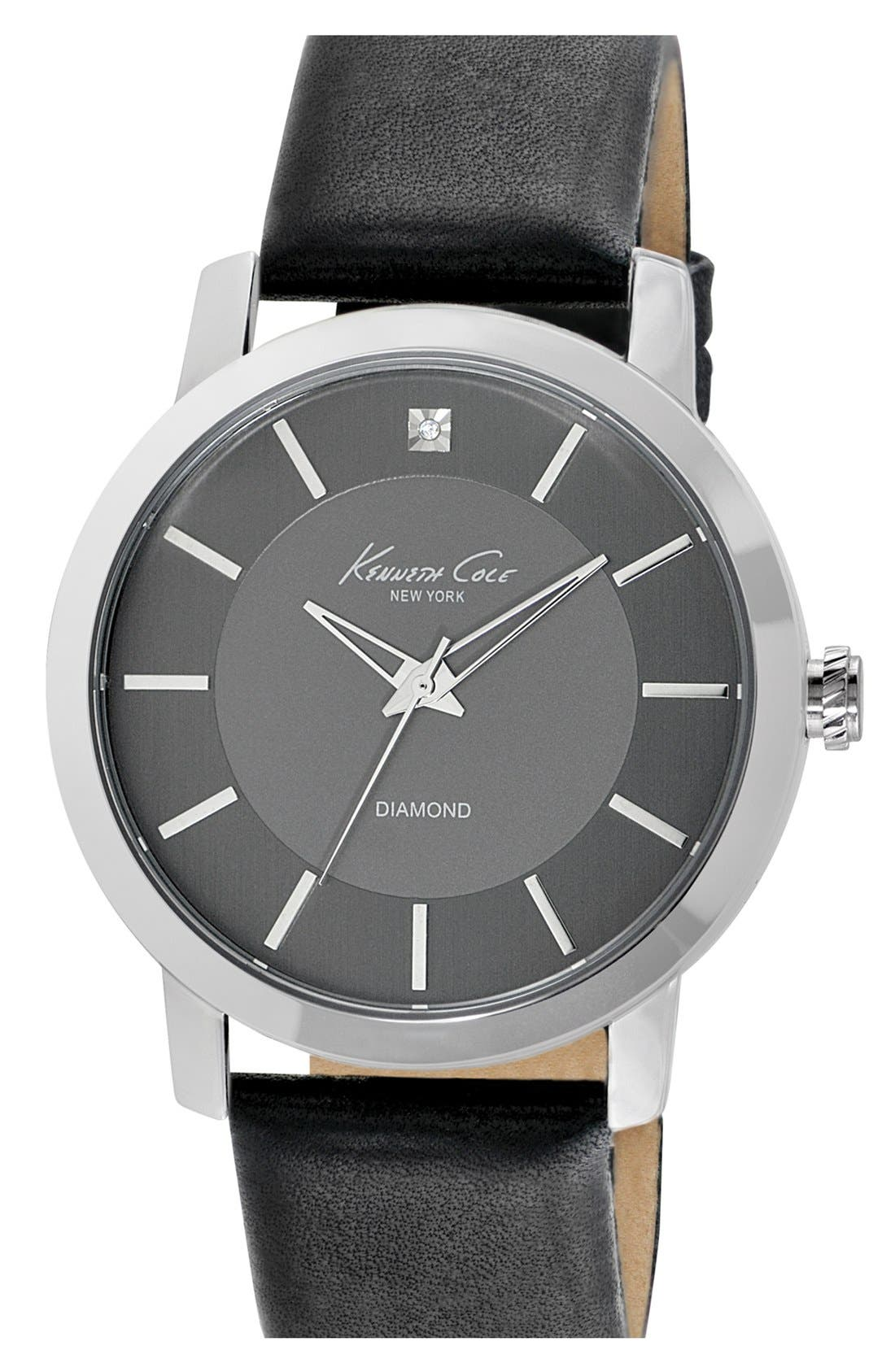 Main Image - Kenneth Cole New York Diamond Marker Leather Strap Watch, 44mm
