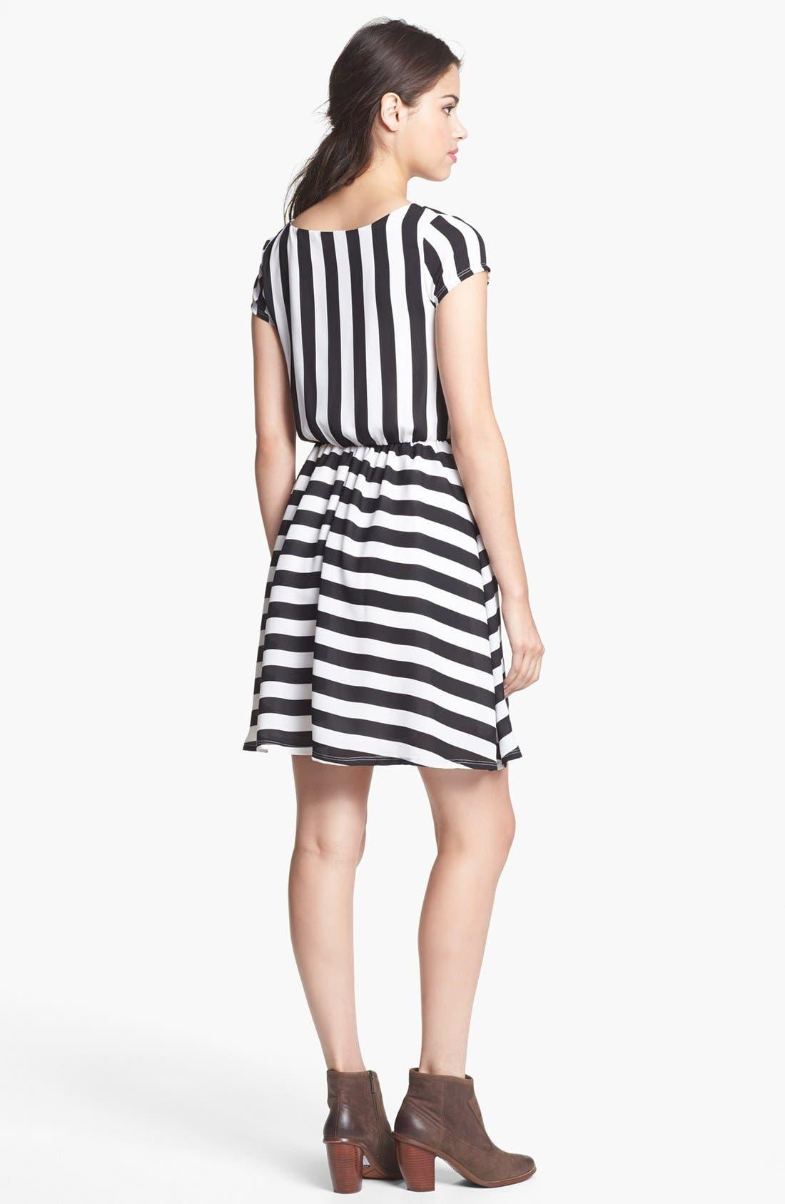 Alternate Image 2  - Minty Stripe Elastic Waist Dress (Juniors) (Online Only)