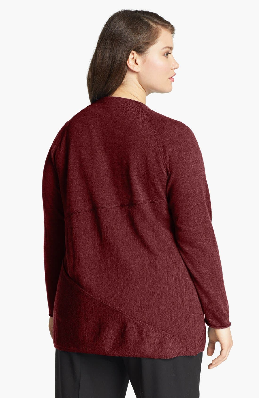 Alternate Image 2  - Eileen Fisher Merino Wool Open Cardigan (Plus Size)