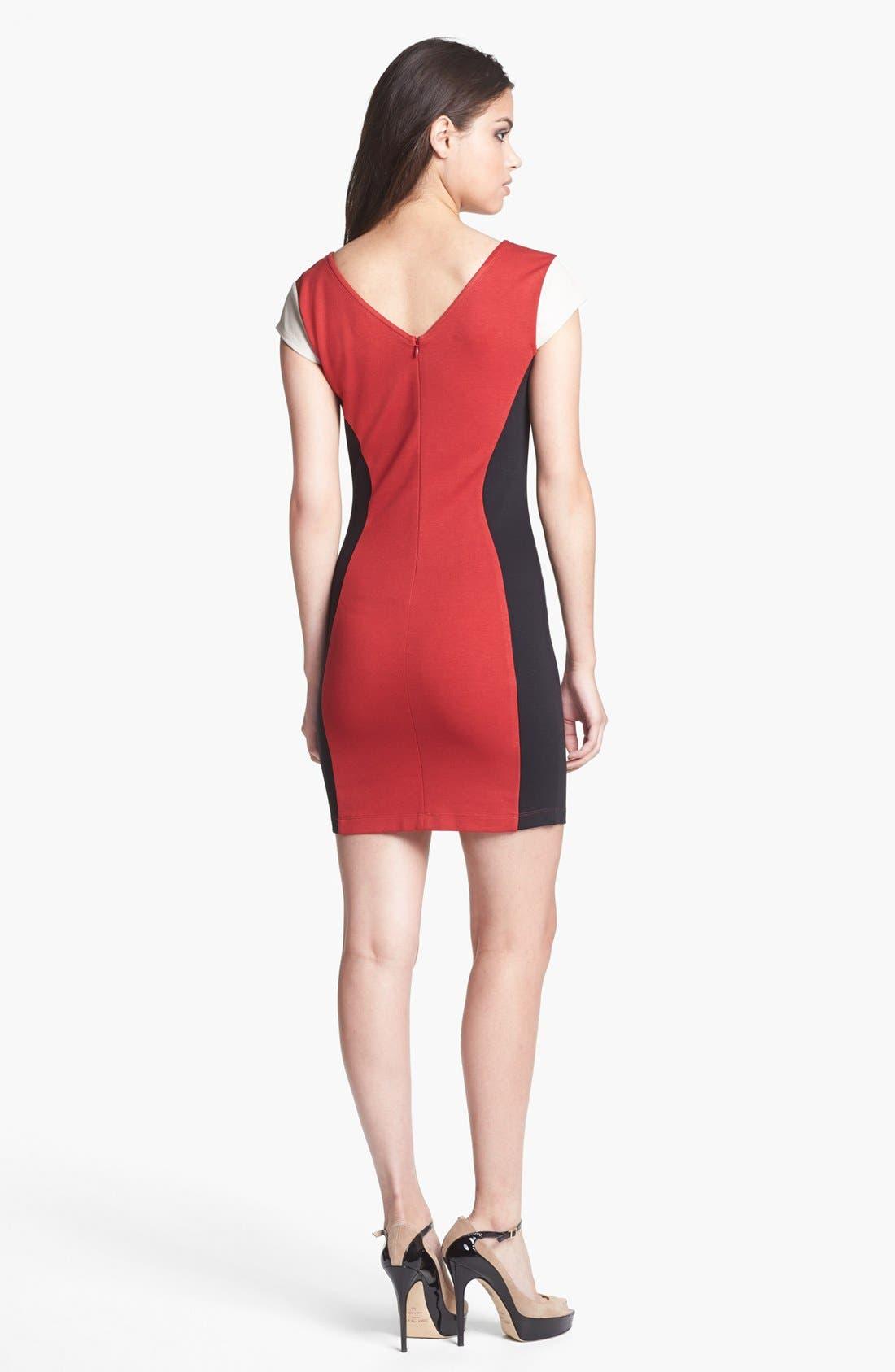 Alternate Image 2  - Madison Marcus Faux Leather Sleeve Colorblock Sheath Dress