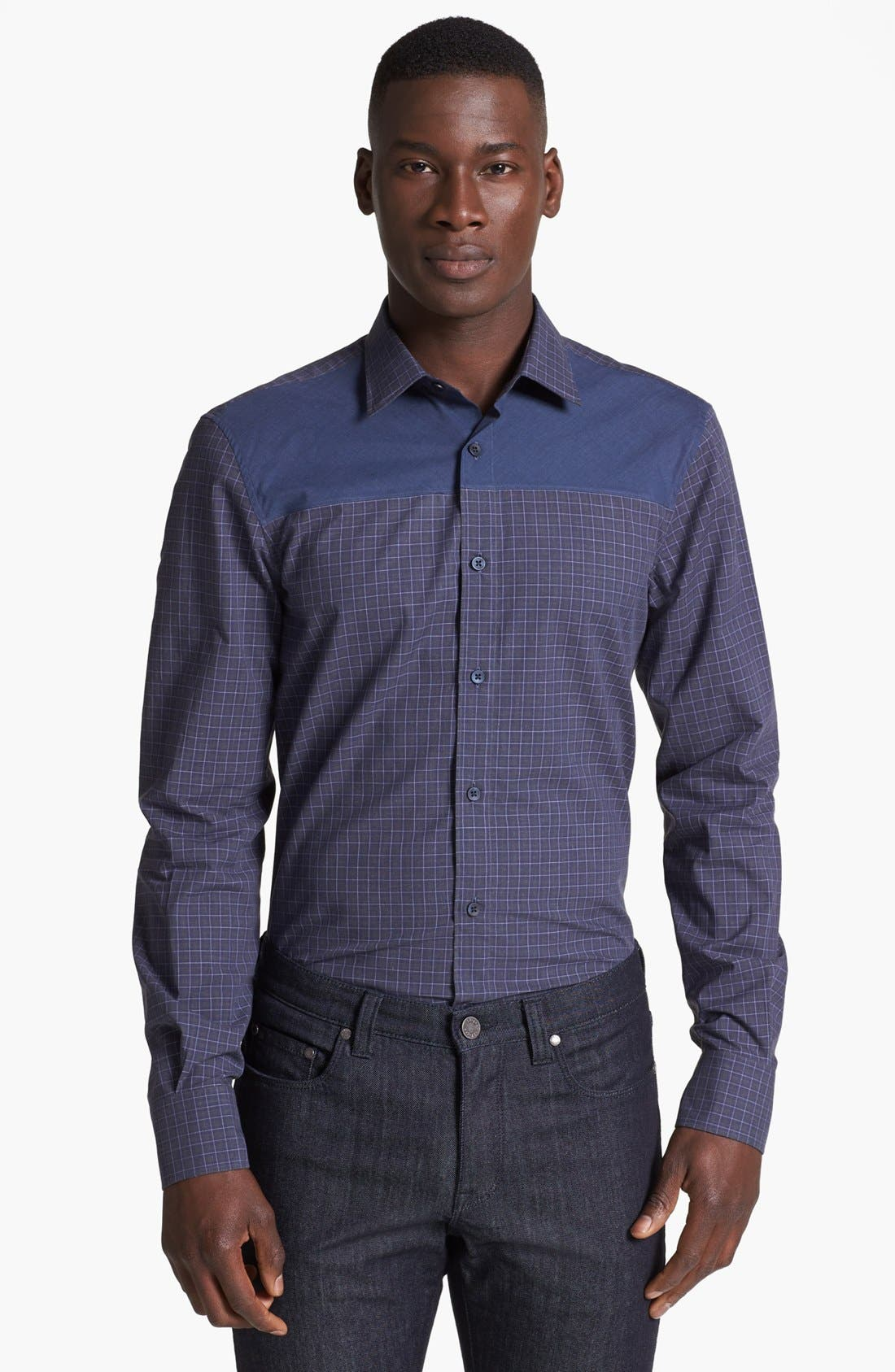 Alternate Image 1 Selected - Z Zegna Colorblock Check Woven Shirt