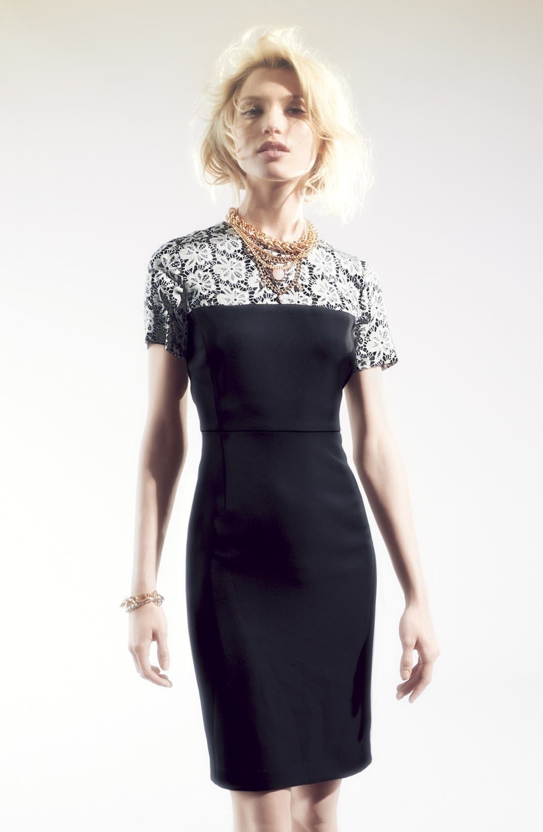 Alternate Image 4  - Vince Camuto Lace Print Crepe Dress