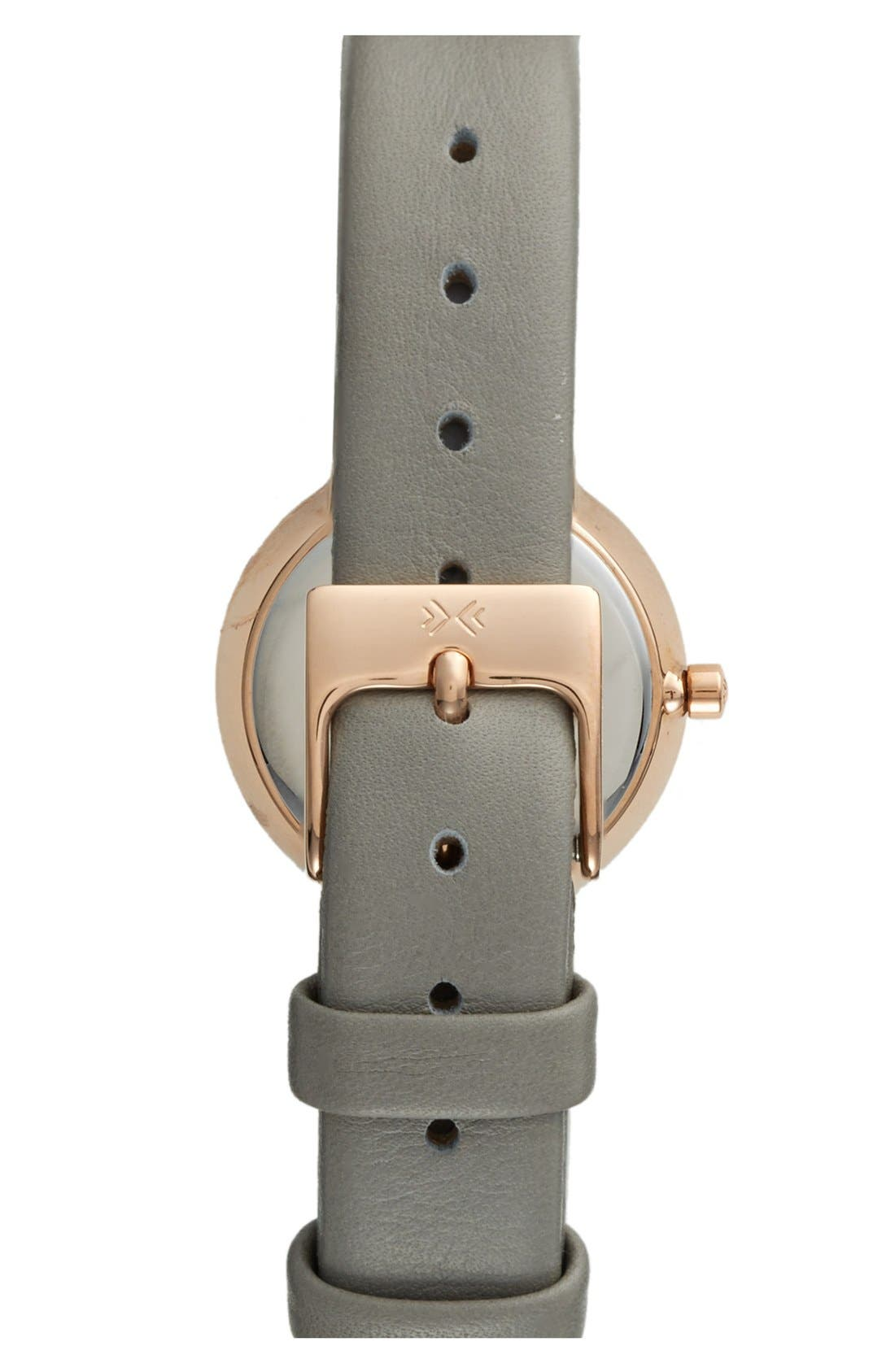 Alternate Image 2  - Skagen Faceted Bezel Leather Strap Watch, 25mm