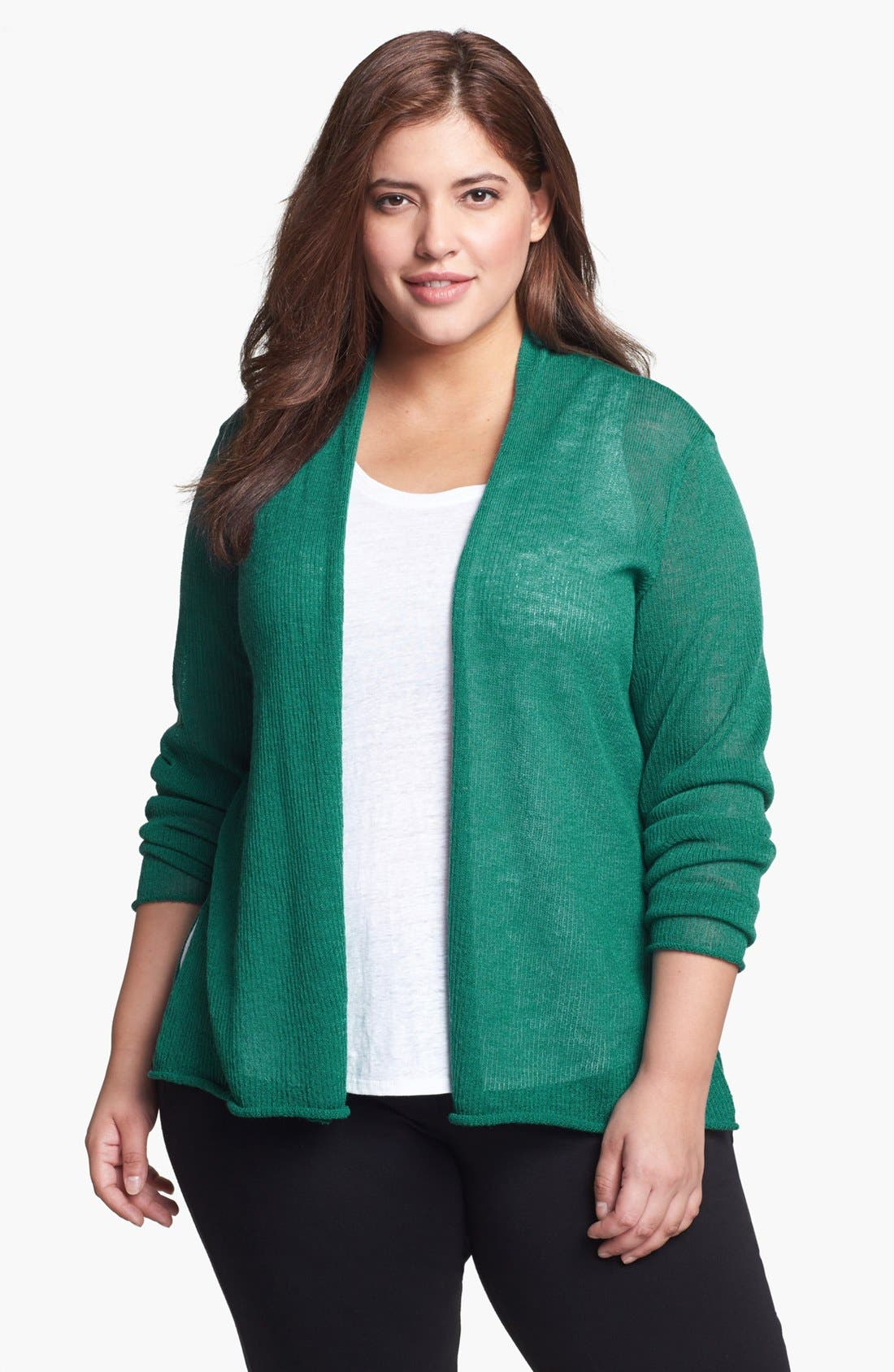 Alternate Image 1 Selected - Eileen Fisher Wool Cardigan (Plus Size)