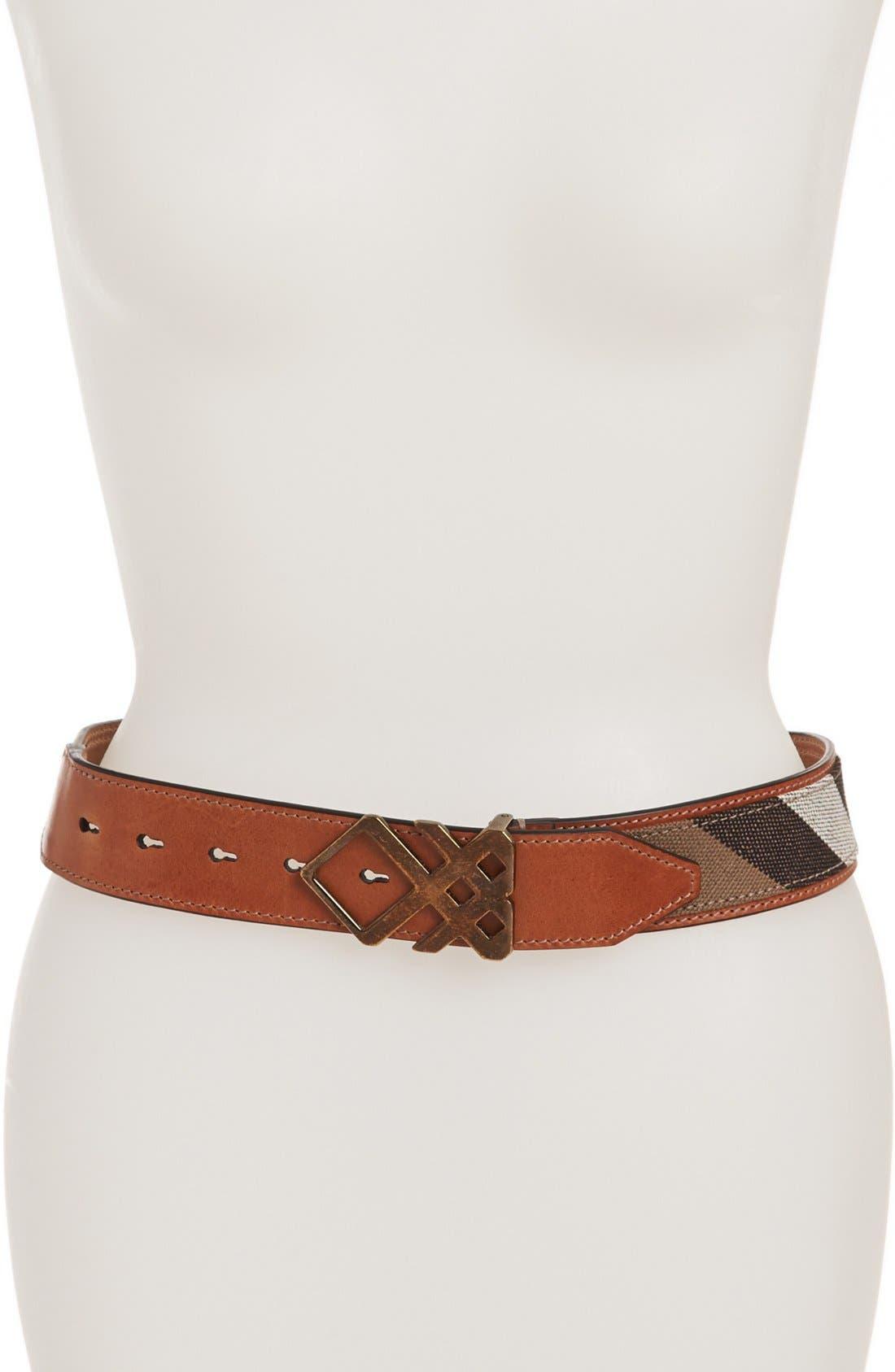 Main Image - Burberry Check Leather Trim Belt