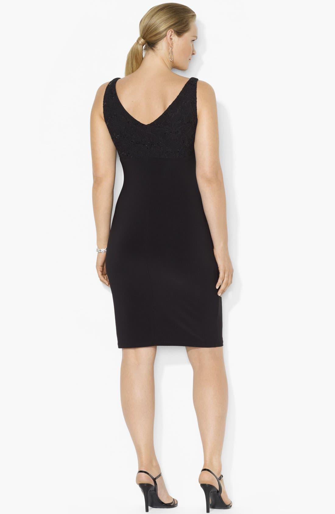 Alternate Image 2  - Lauren Ralph Lauren Embellished Lace & Jersey Sheath Dress (Plus Size)