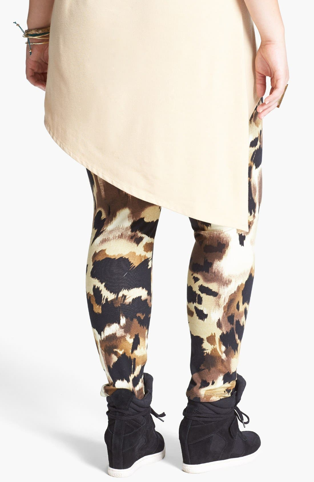 Alternate Image 2  - Mimi Chica Print Leggings (Juniors Plus)