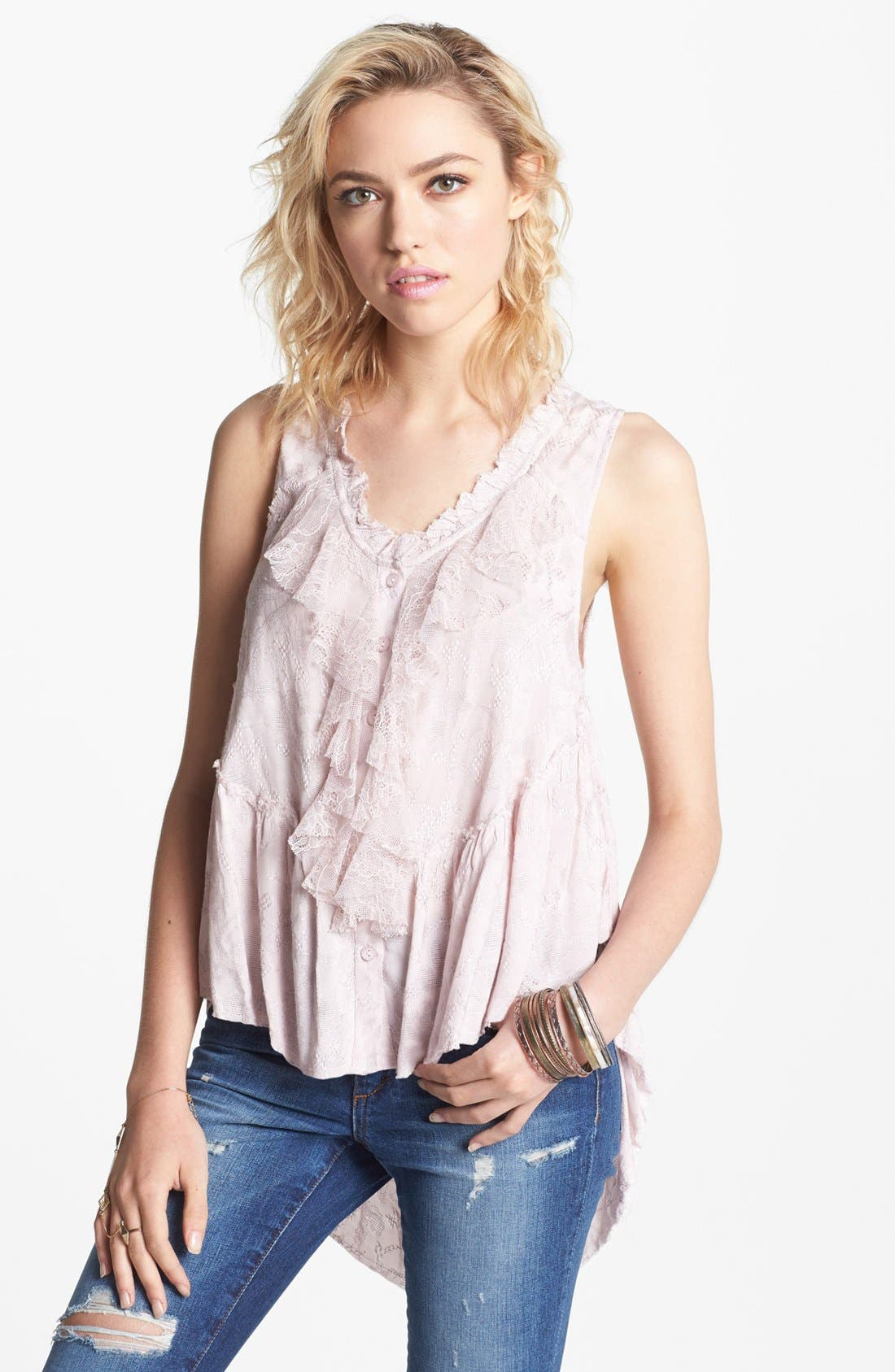 Main Image - Free People 'Roman Holiday' Ruffle Trim Top
