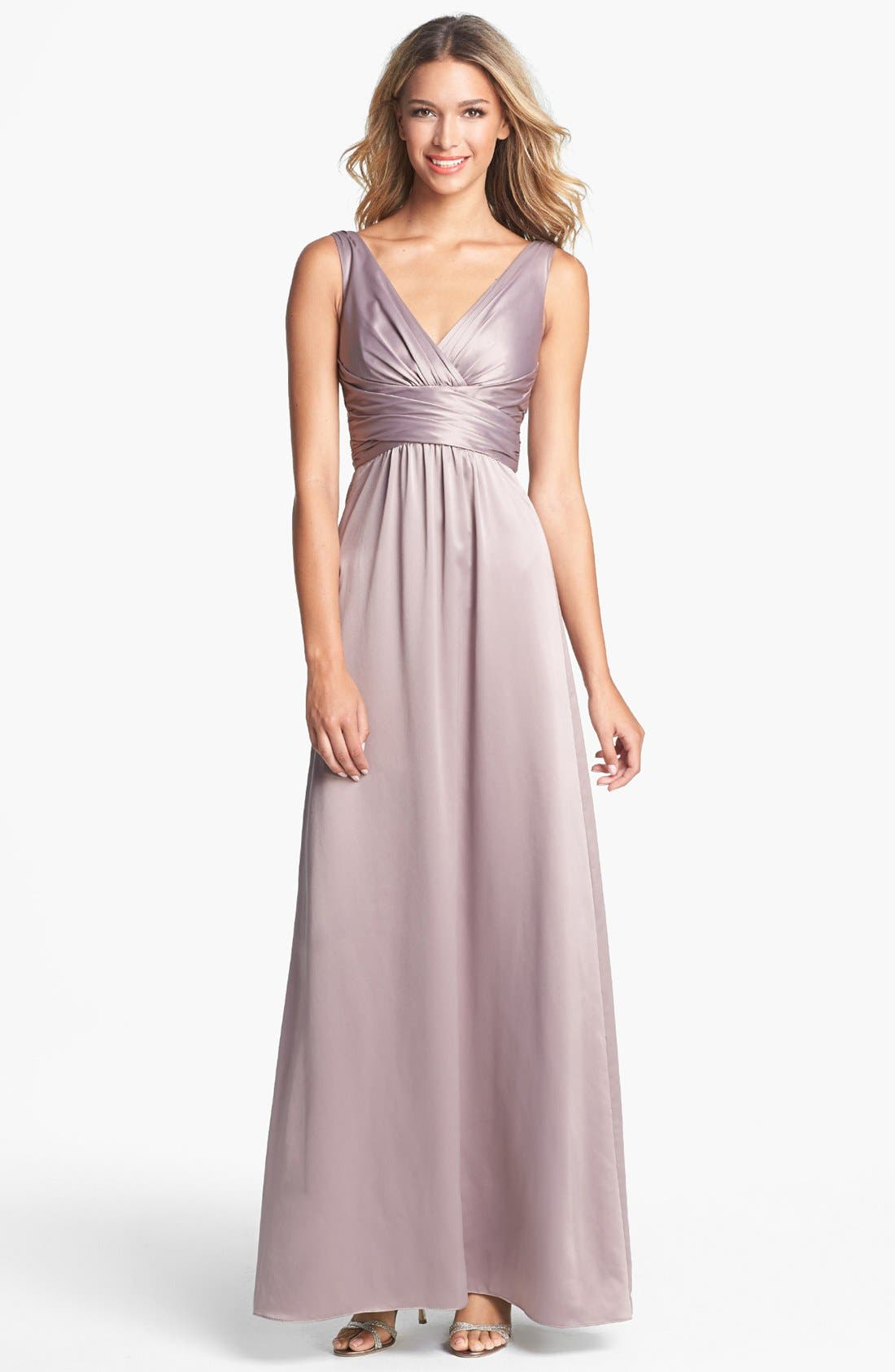 Main Image - Amsale Long Charmeuse Dress