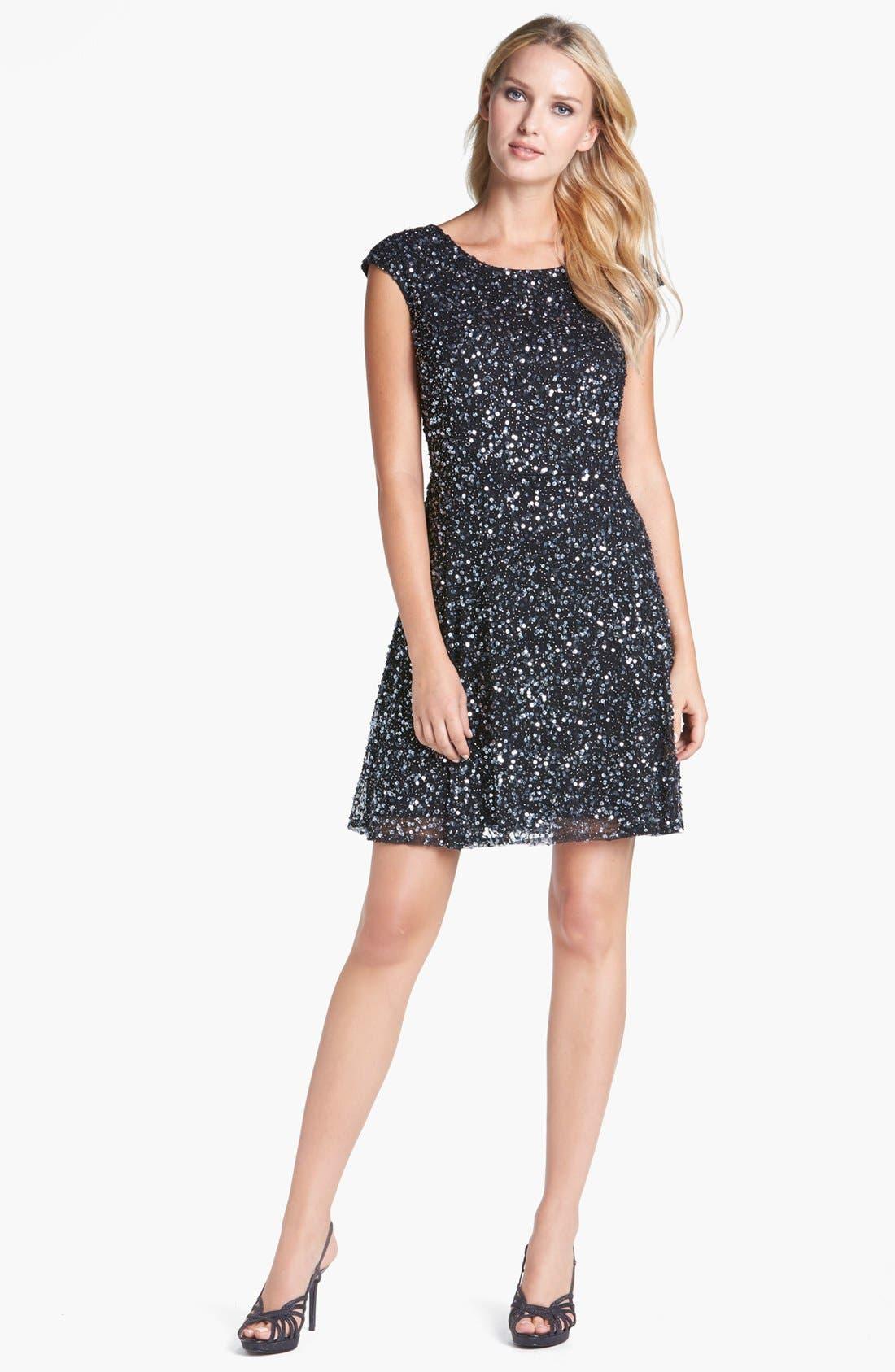 Main Image - Pisarro Nights Sequin Fit & Flare Dress