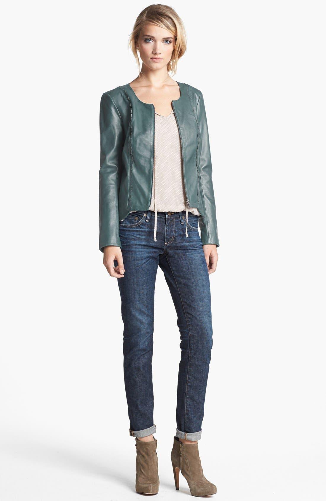 Alternate Image 4  - Hinge® Scallop Trim Leather Jacket