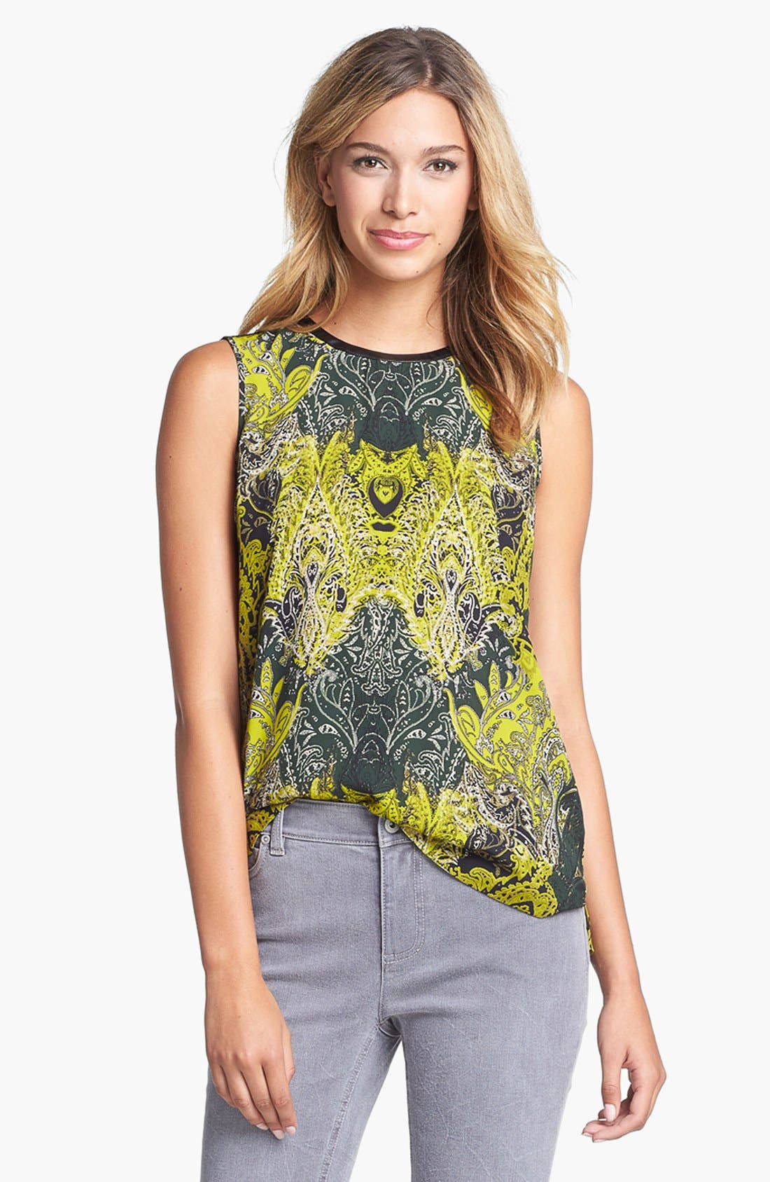 Main Image - Vince Camuto Faux Leather Trim Print Shell  (Online Only)