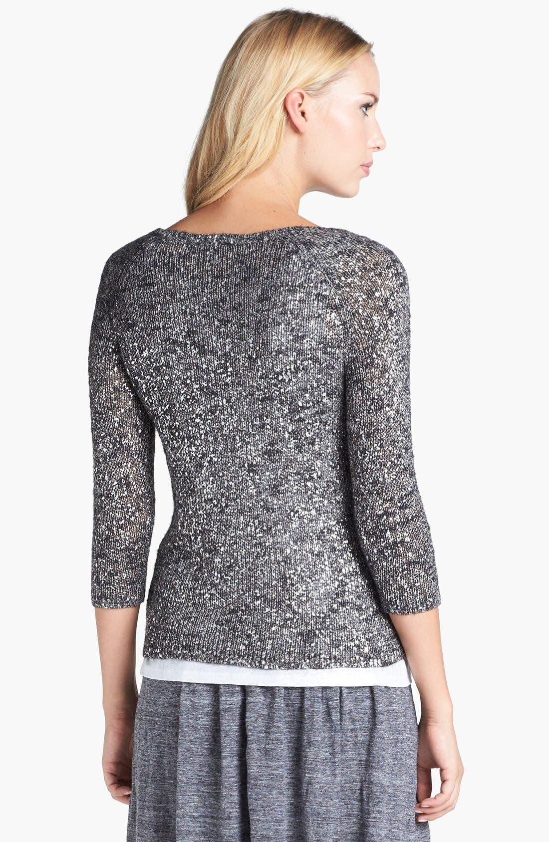 Alternate Image 4  - Eileen Fisher Scoop Neck Shimmer Sweater