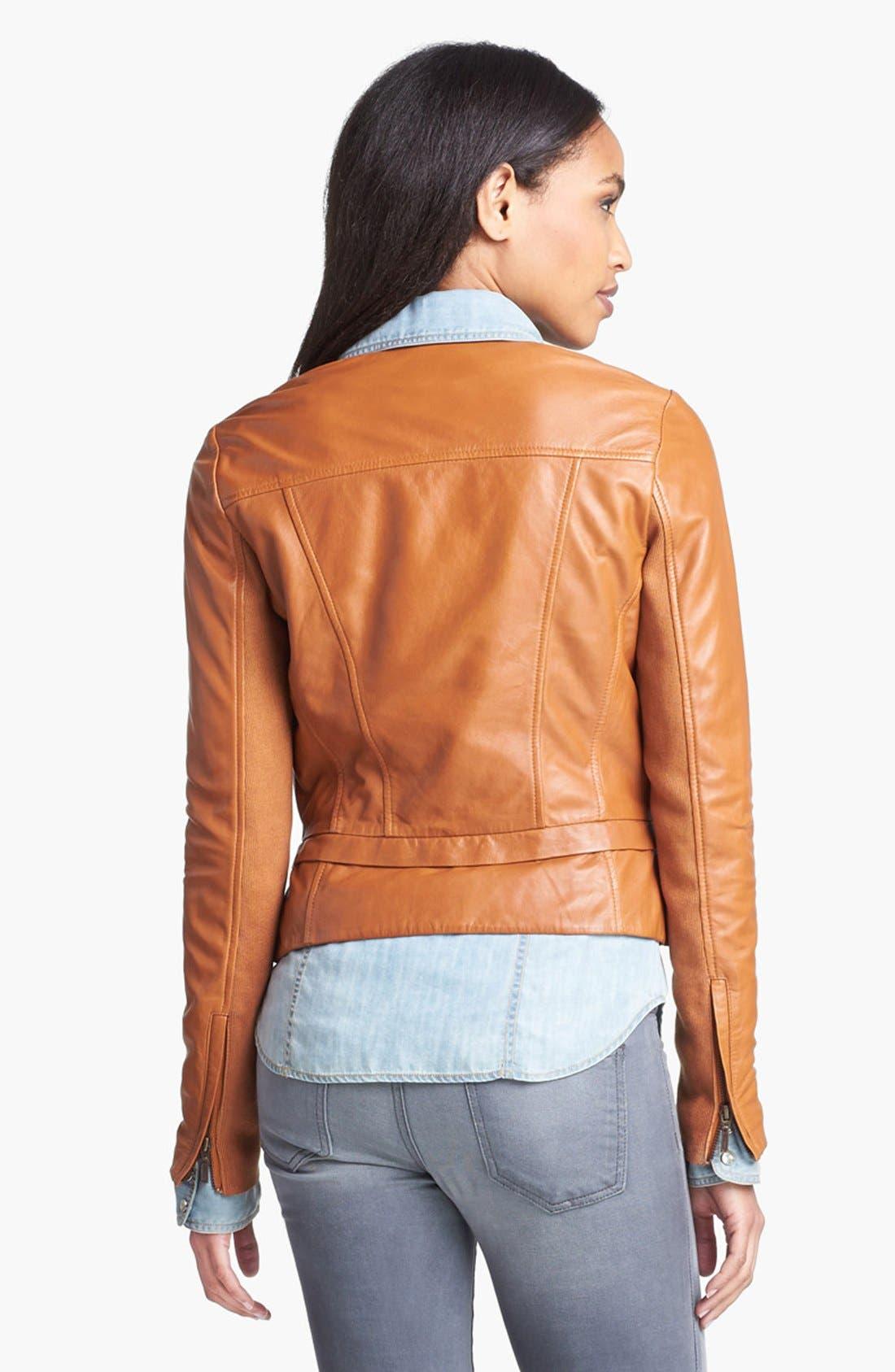 Alternate Image 4  - Halogen® Seamed Leather Jacket