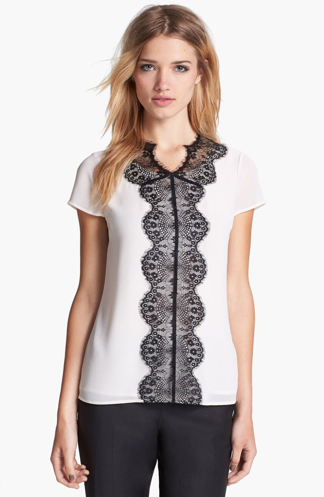 Alternate Image 1 Selected - Ted Baker London Lace Paneled Top