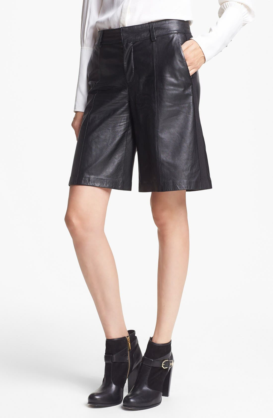 Alternate Image 1 Selected - Rachel Zoe Lamb Leather Culotte Shorts