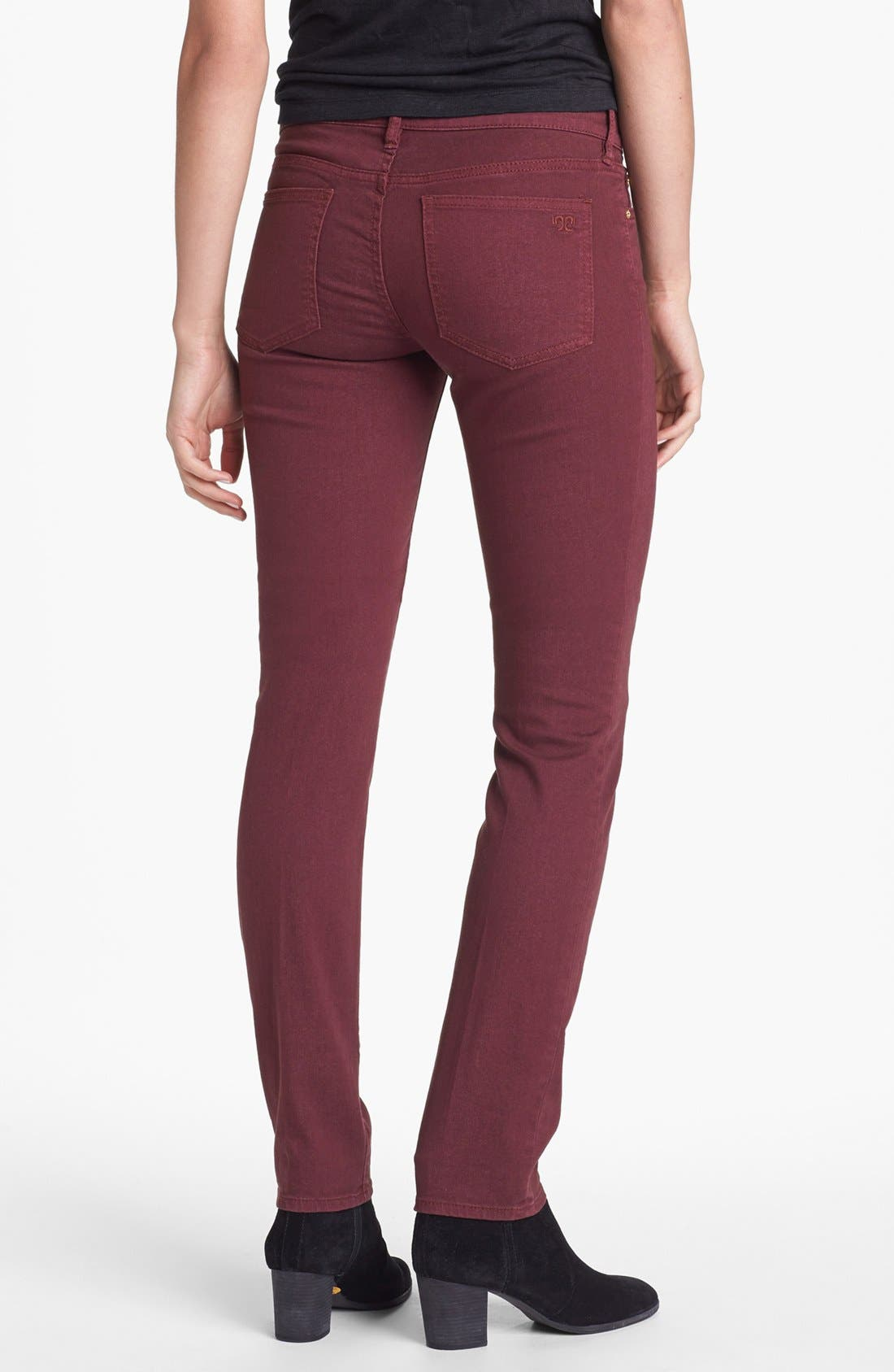 Alternate Image 2  - Tory Burch 'Ivy' Colored Super Skinny Jeans (Dark Plum)