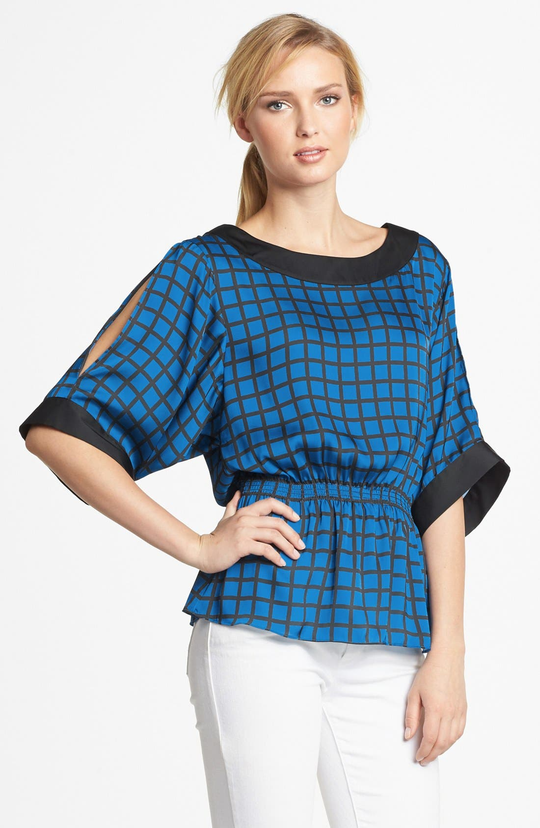 Alternate Image 1 Selected - MICHAEL Michael Kors Smocked Cold Shoulder Blouse