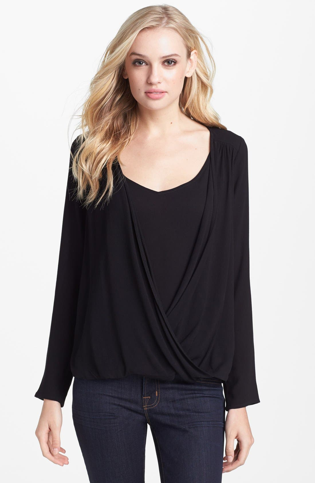 Alternate Image 1 Selected - Ella Moss Surplice Crepe Top