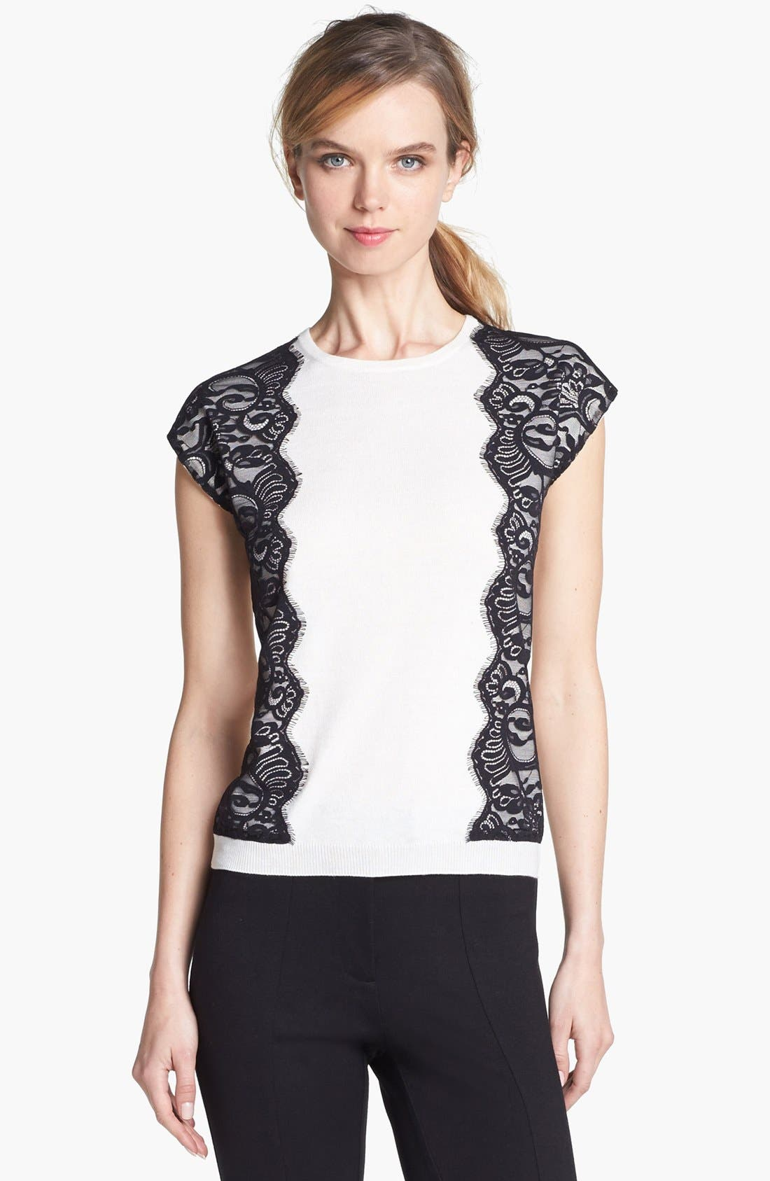 Alternate Image 3  - Vince Camuto Lace Trim Shell
