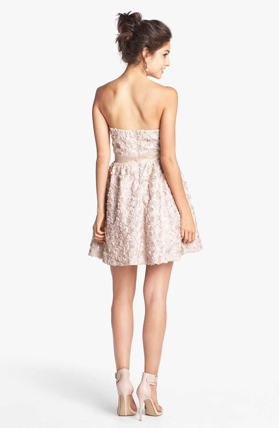 Alternate Image 2  - As U Wish Embellished Rosette Strapless Dress (Juniors) (Online Only)