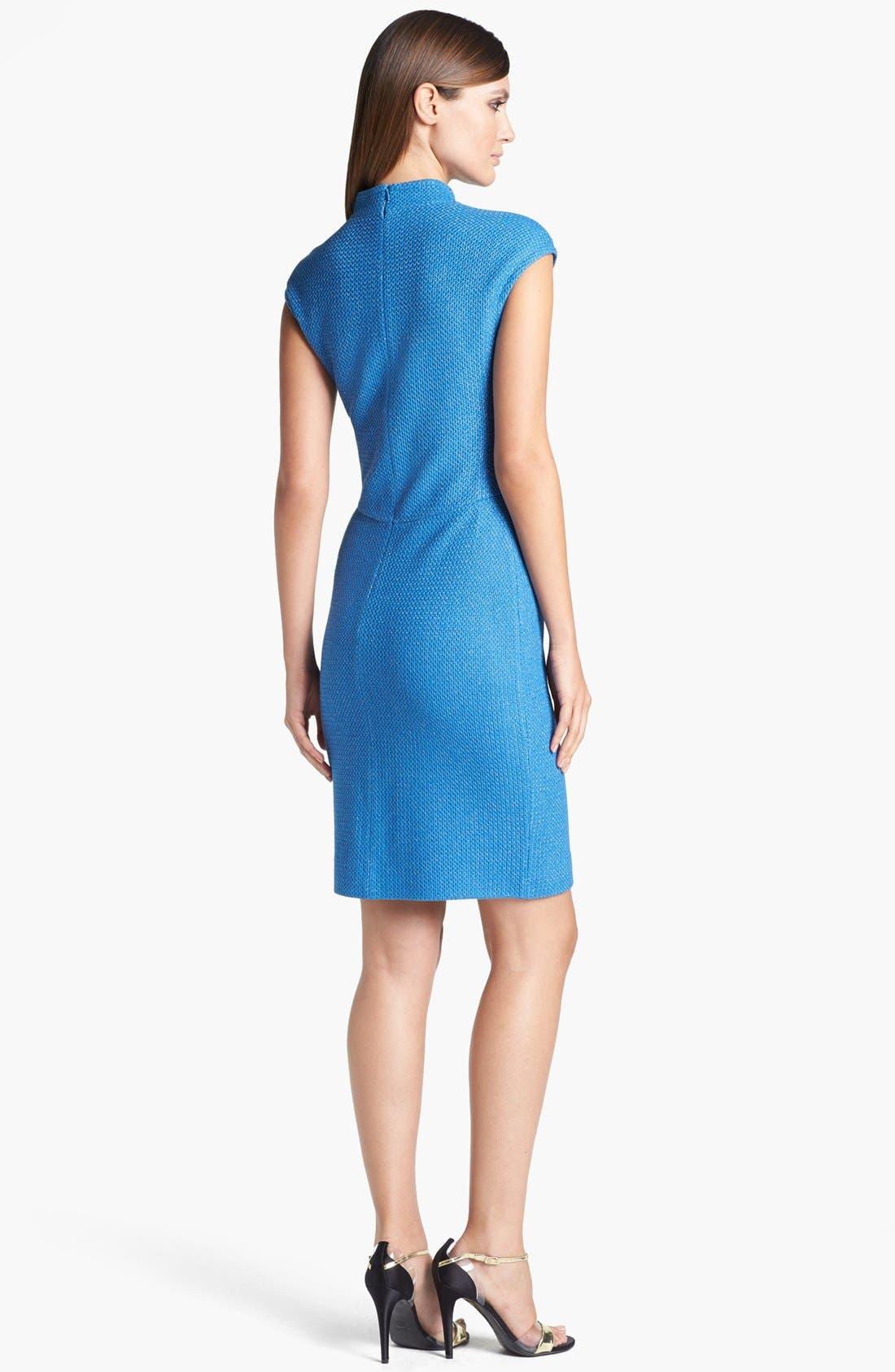 Alternate Image 2  - St. John Collection Cap Sleeve Metallic Lattice Knit Dress