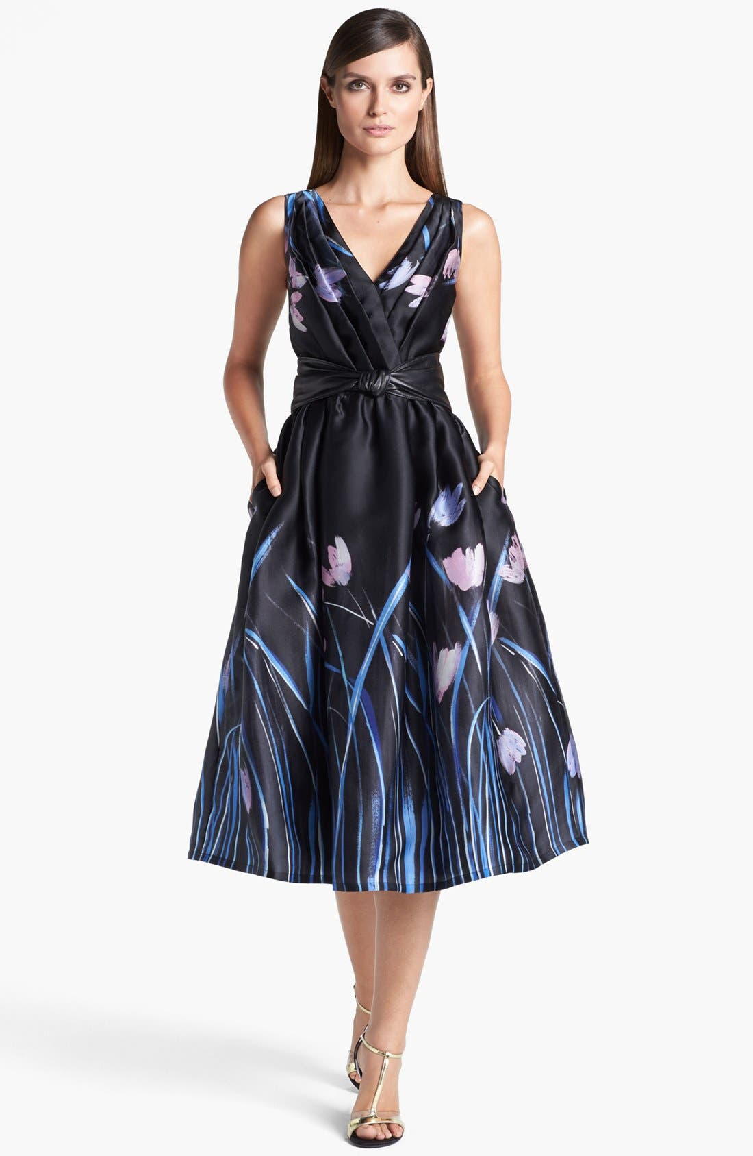 Main Image - St. John Collection Tulip Print Organza Dress